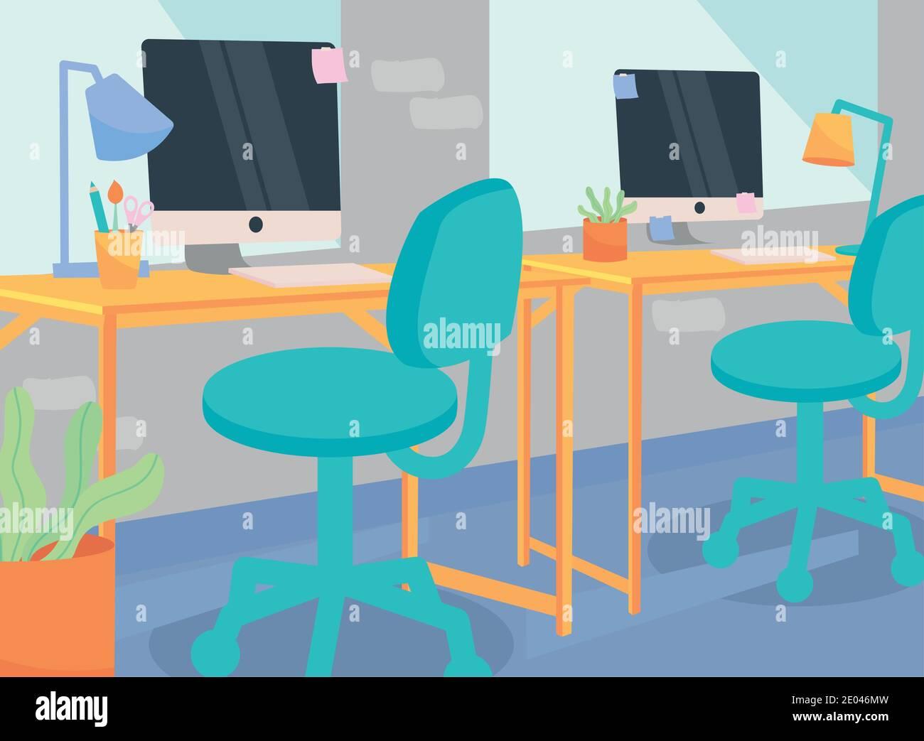 Espace de travail avec bureaux conception de lampes et de chaises d'ordinateur, bureau de travail et de télétravail thème illustration vectorielle Illustration de Vecteur