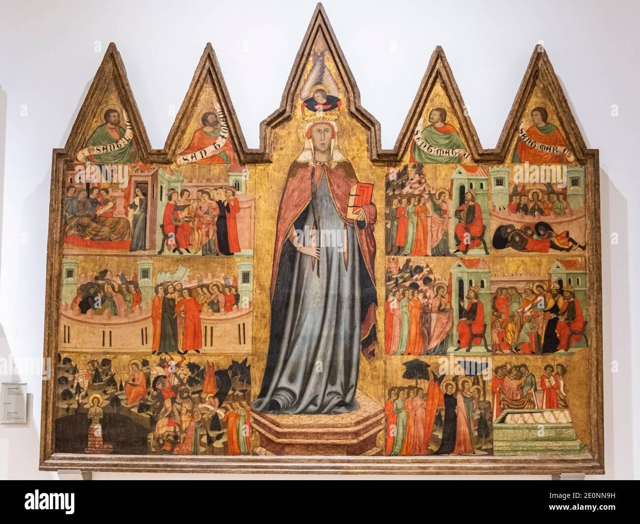 Retable de Santa Quiteria, Joan Loert, vers 1300, tempera sur panneau, Hospital de Sant Antoni, Palma, mortier de chaux et charge inerte, Plaza de la Banque D'Images