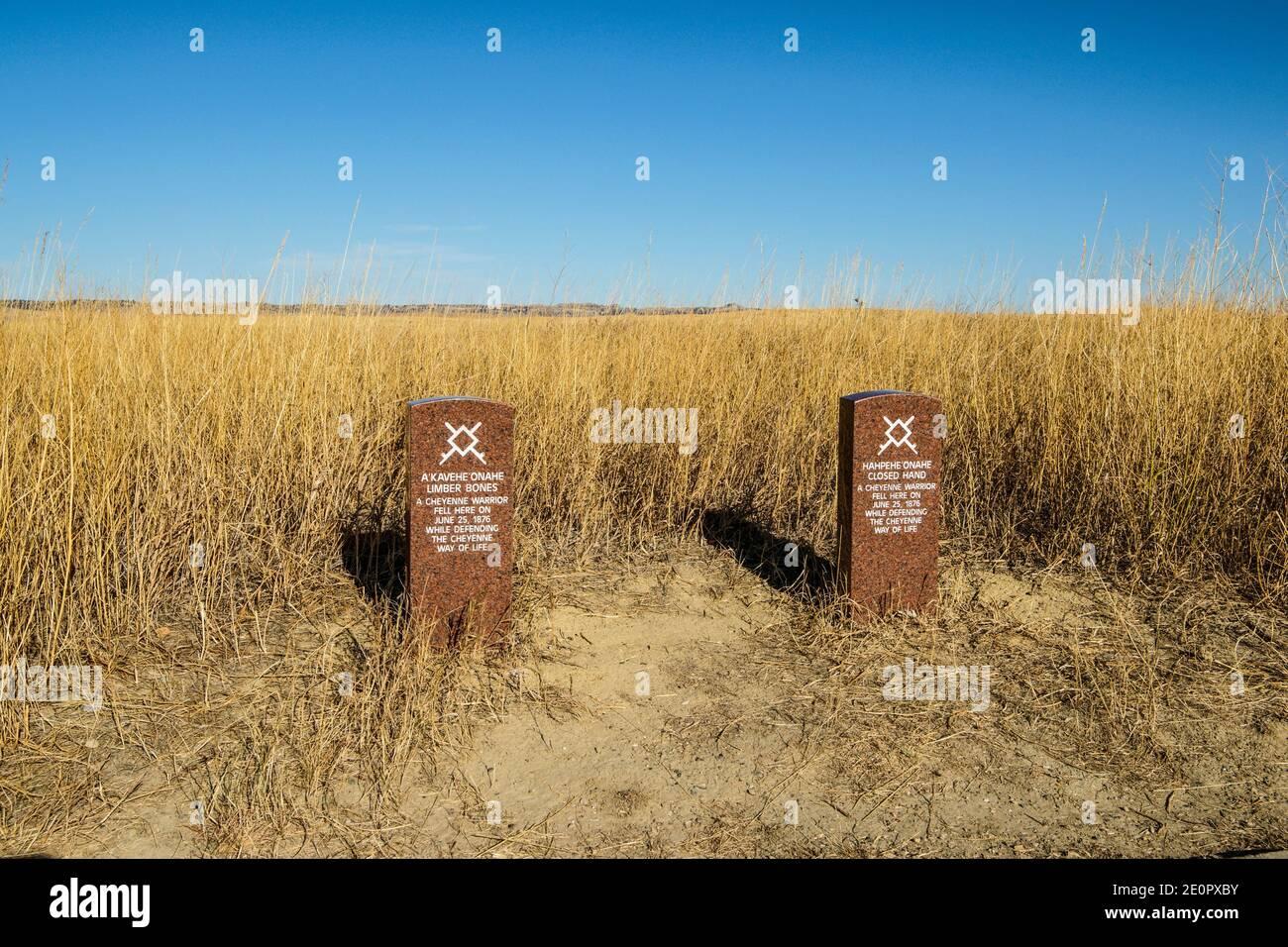 Pierres de tête de guerrier Cheyenne. Monument national du champ de bataille de Little Bighorn. Crow Agency, Montana, U. S. A. , Amérique du Nord. Banque D'Images