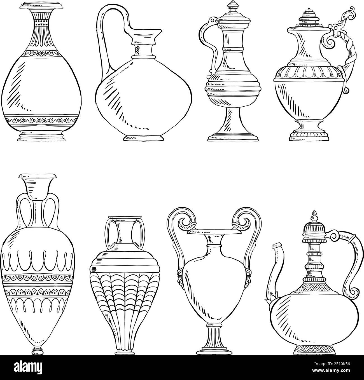 Vases vintage dessinés à la main, poterie antique détaillée, illustrations vectorielles isolées sur fond blanc Illustration de Vecteur