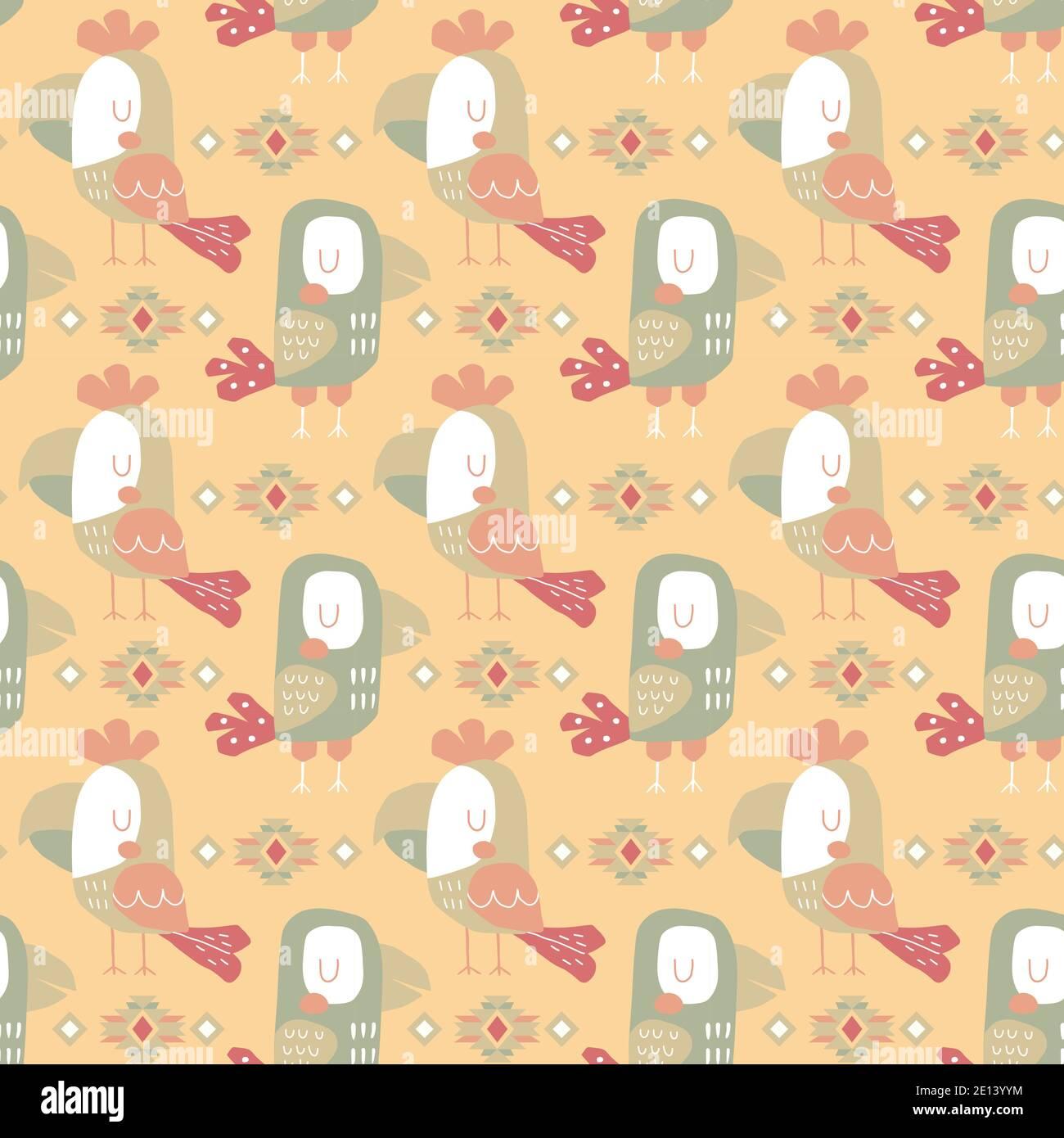 Folk coloré Toucan oiseaux et éléments géométriques, motif vectoriel sans couture Illustration de Vecteur