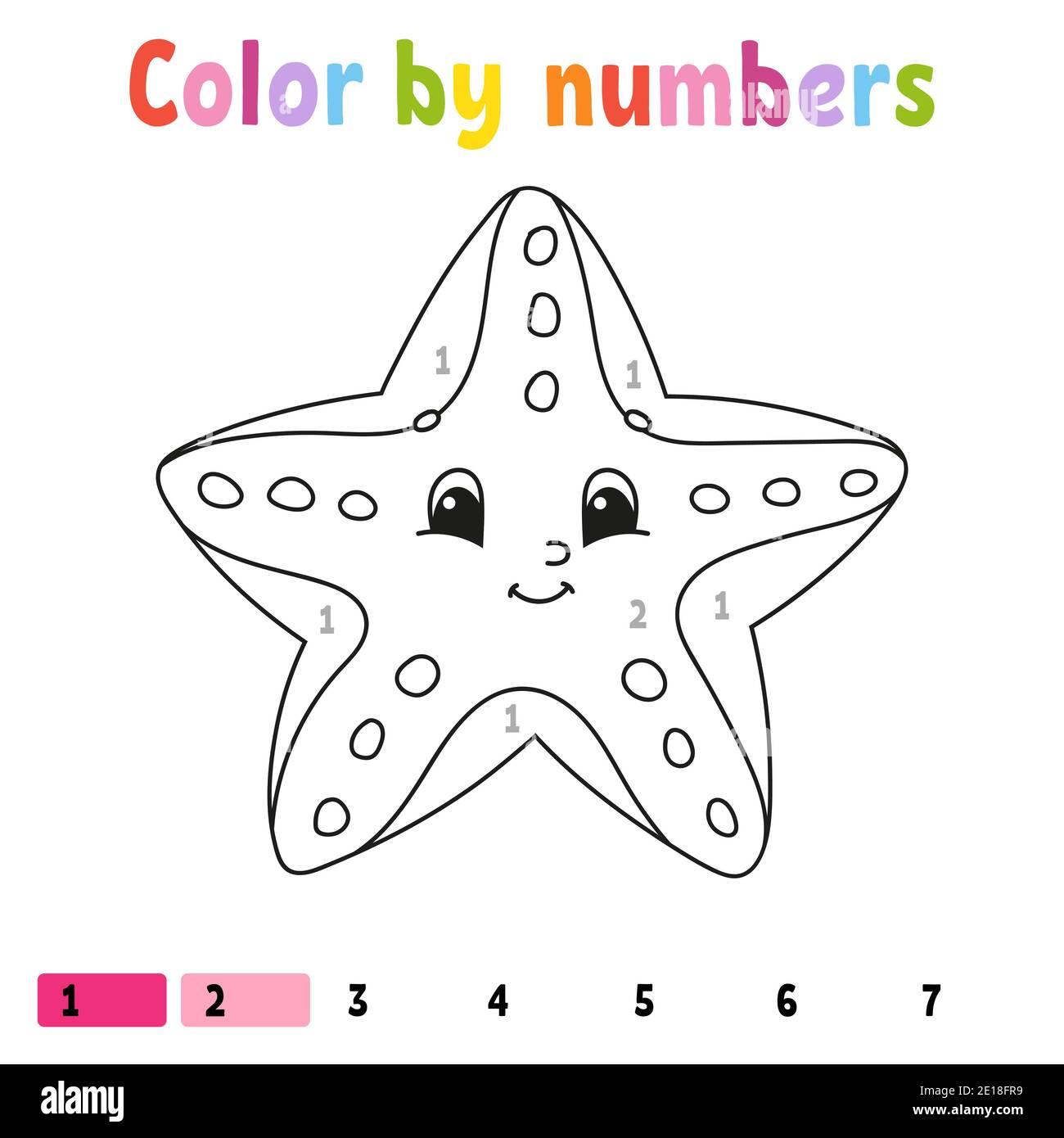 Couleur par nombres étoiles de mer. Livre de coloriage pour ...