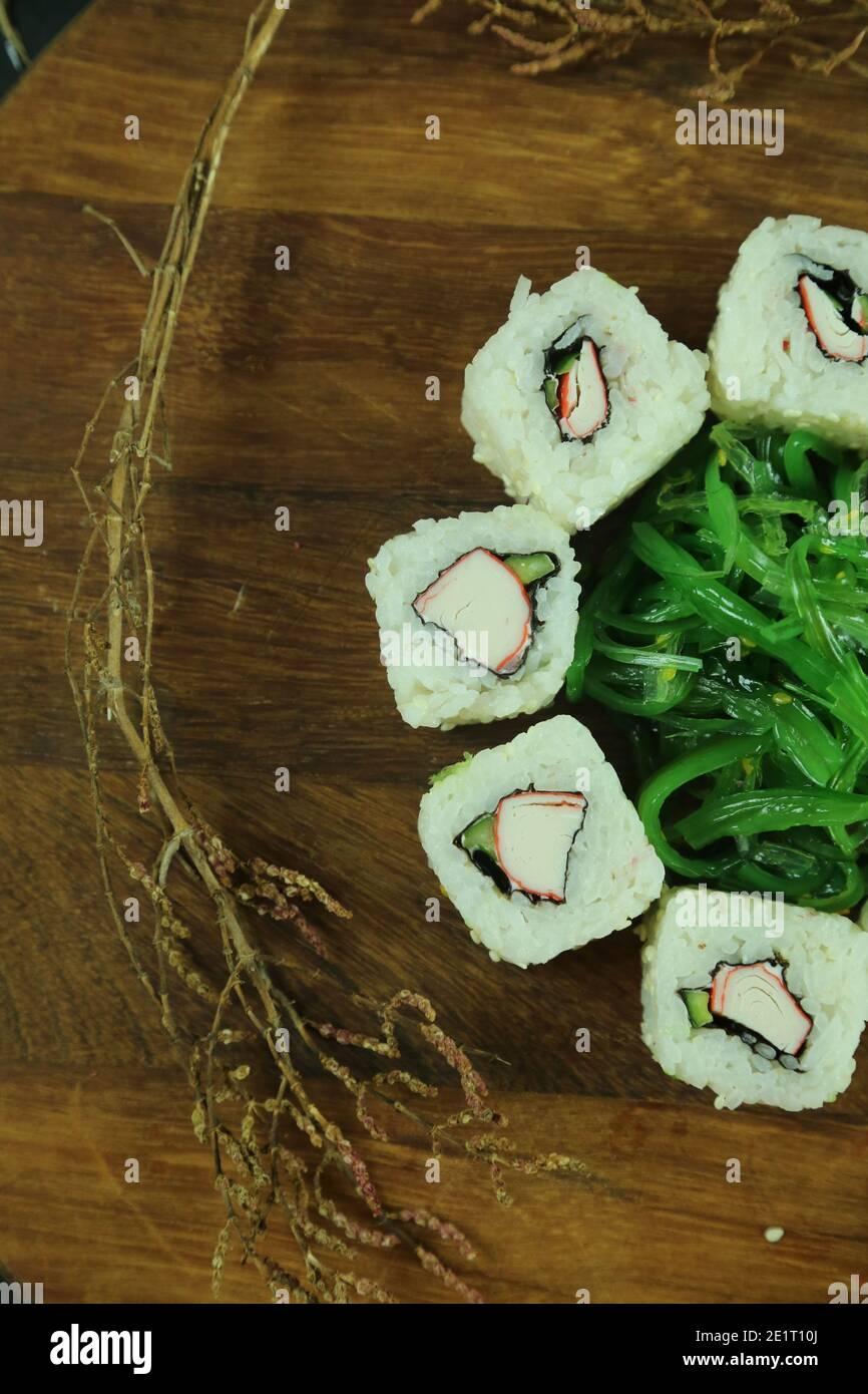 Divers types de sushis servis, vue rapprochée Banque D'Images