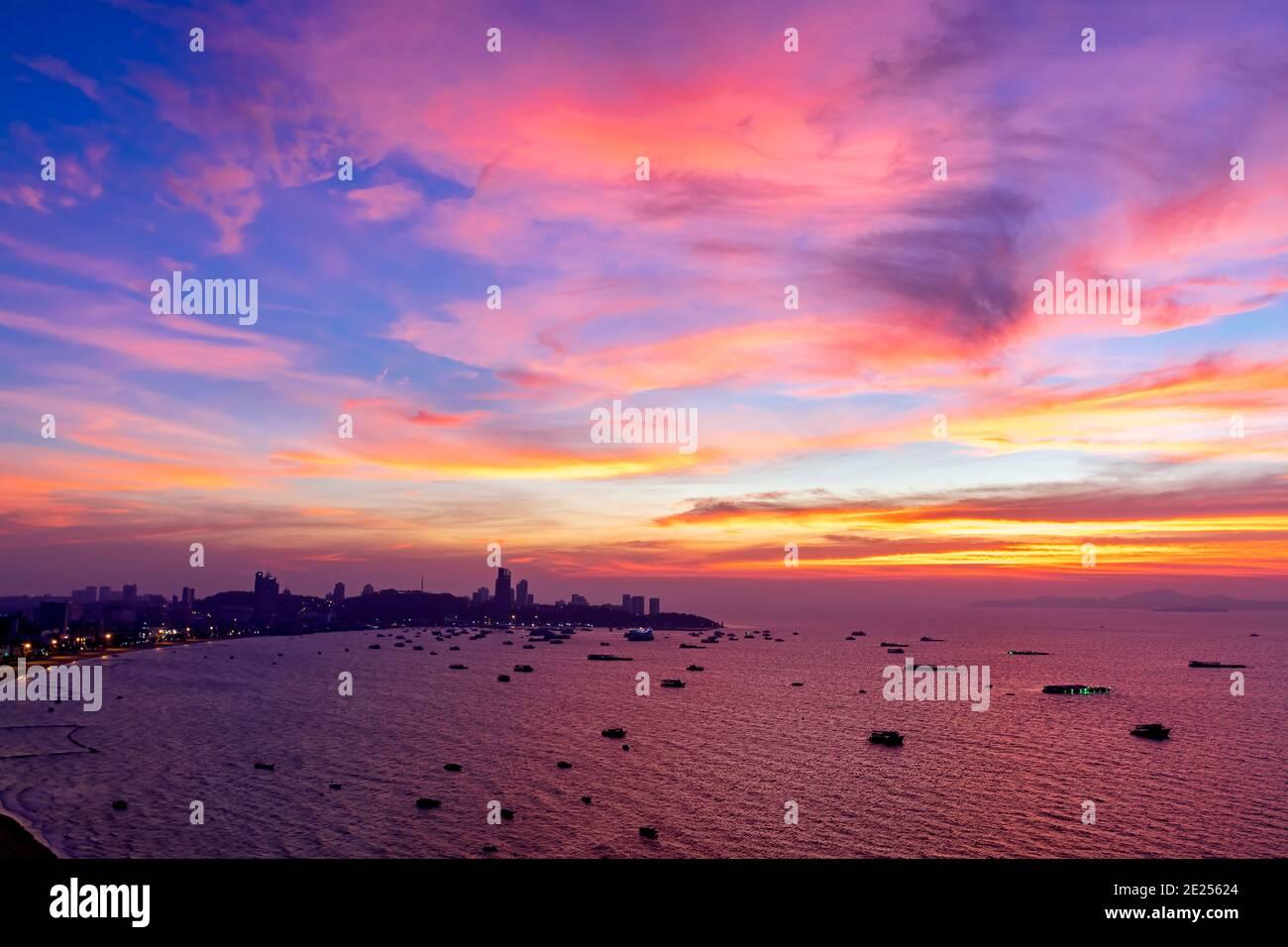 Paysage de coucher de soleil, Pattaya, Chon Buri, Thaïlande Banque D'Images
