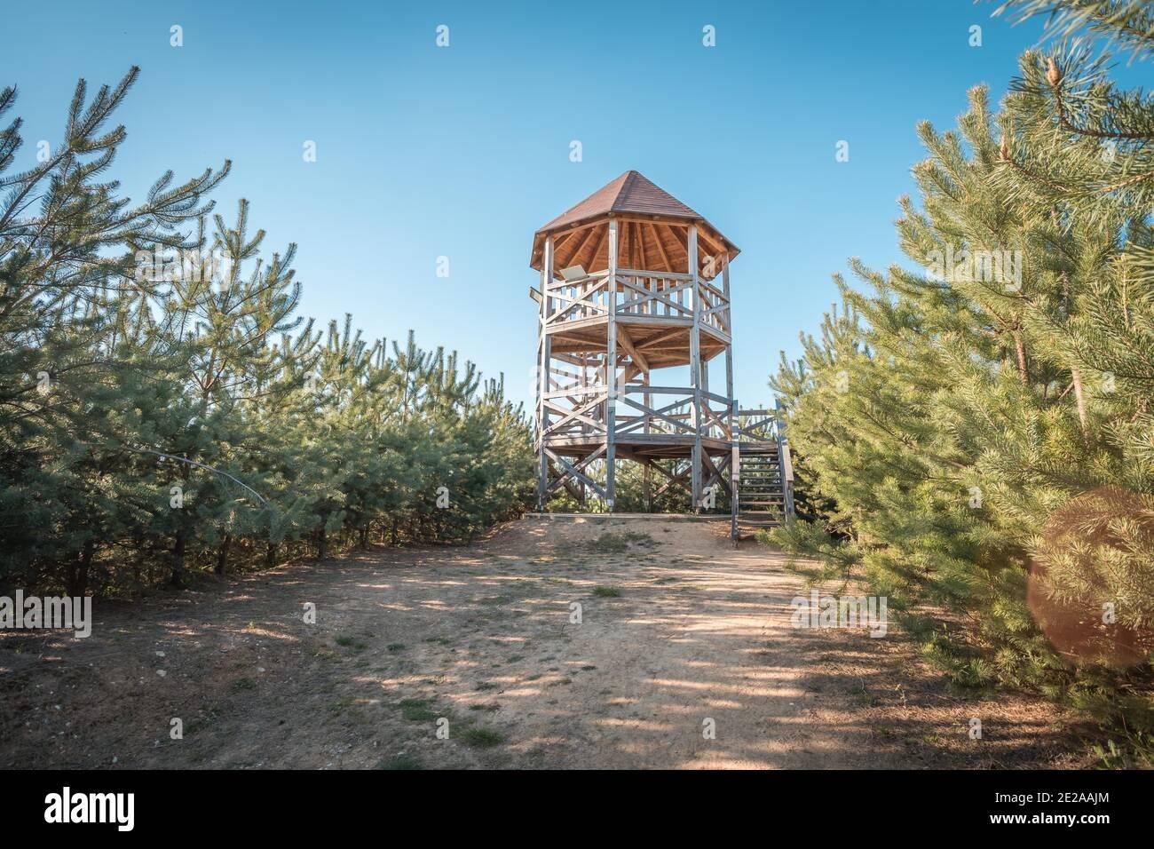 Rozhledna Kosice est une tour d'observation dans le parc forestier de la ville de Chlumec nad Cidlinou. Il ios fait de bois et il est de 8m de haut. Image de la tour d'observation Banque D'Images