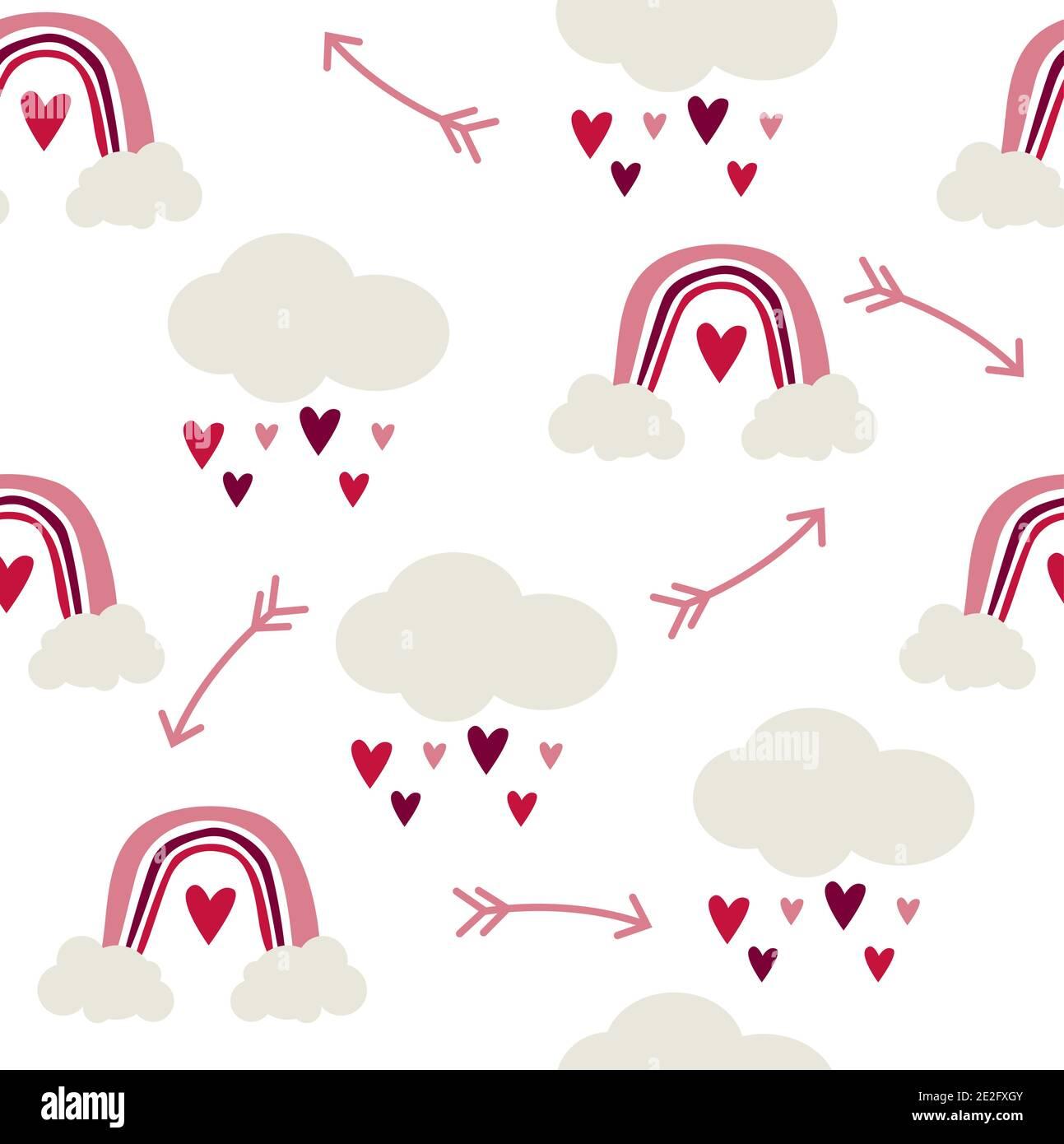 Motif sans couture d'arcs-en-ciel et de nuages avec coeurs de pluie, style scandinave puéril sur fond blanc. Illustration de Vecteur