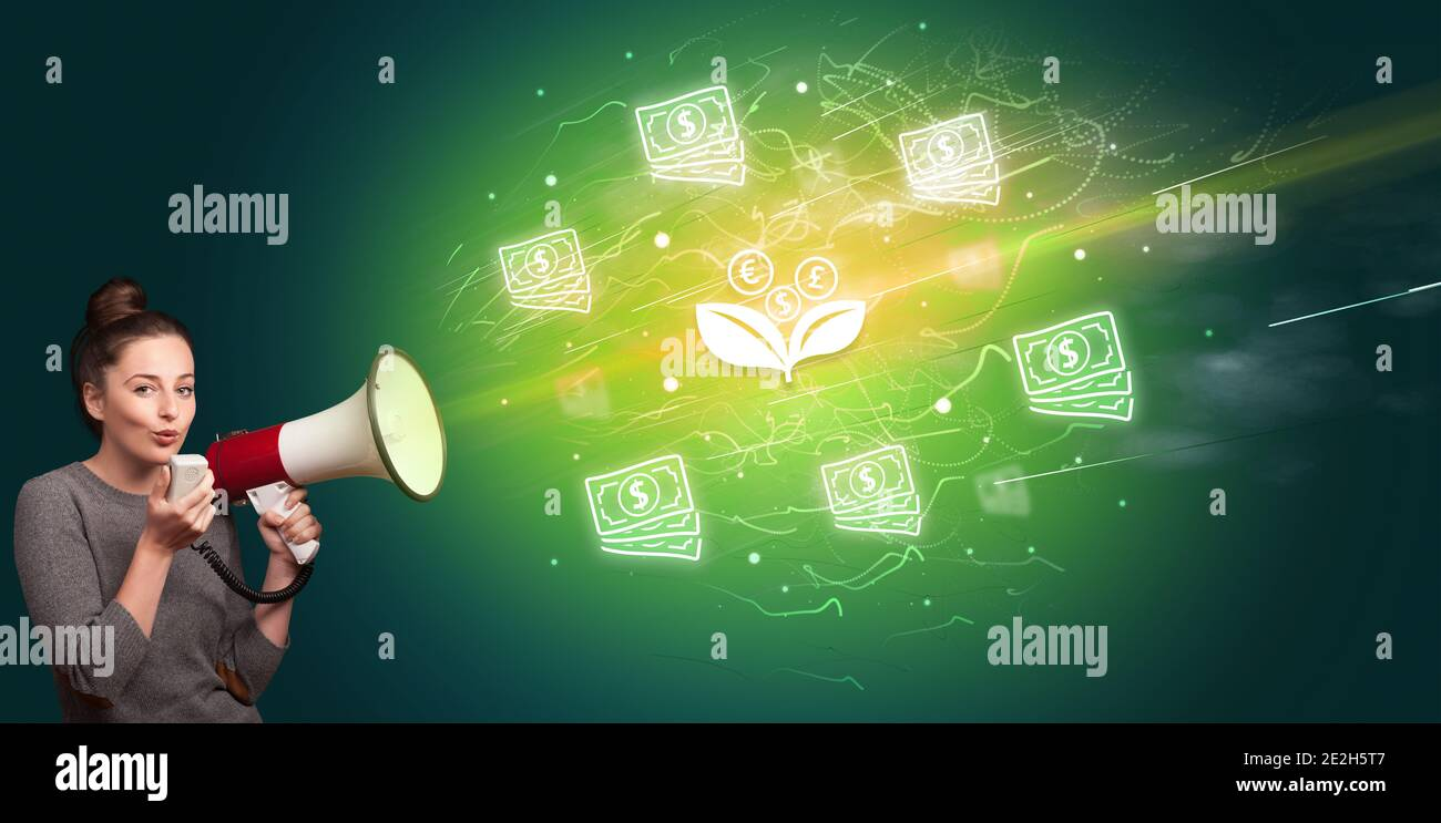 Jeune personne hurle dans le mégaphone et l'icône de fleur de monnaie, le concept de change de monnaie Banque D'Images