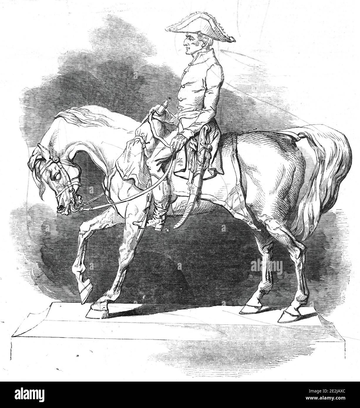 Statuette du duc de Wellington, par le Comte d'Orsay, 1845. « bien que ne dépassant pas deux pieds de hauteur, la statue mérite à peine son appellation réduite; Puisqu'il y a une dignité qui envahit toute la composition, ce qui force le spectateur à perdre entièrement de vue ses proportions relativement petites... le duc est représenté comme regardant le progrès d'une bataille... dans la main droite il tient également un télescope. La pose entière de la figure sur le cheval fait preuve de puissance de conception... cet arrangement, bien qu'il soit purement naturel, aide le contour pyramidal de la composition. Banque D'Images