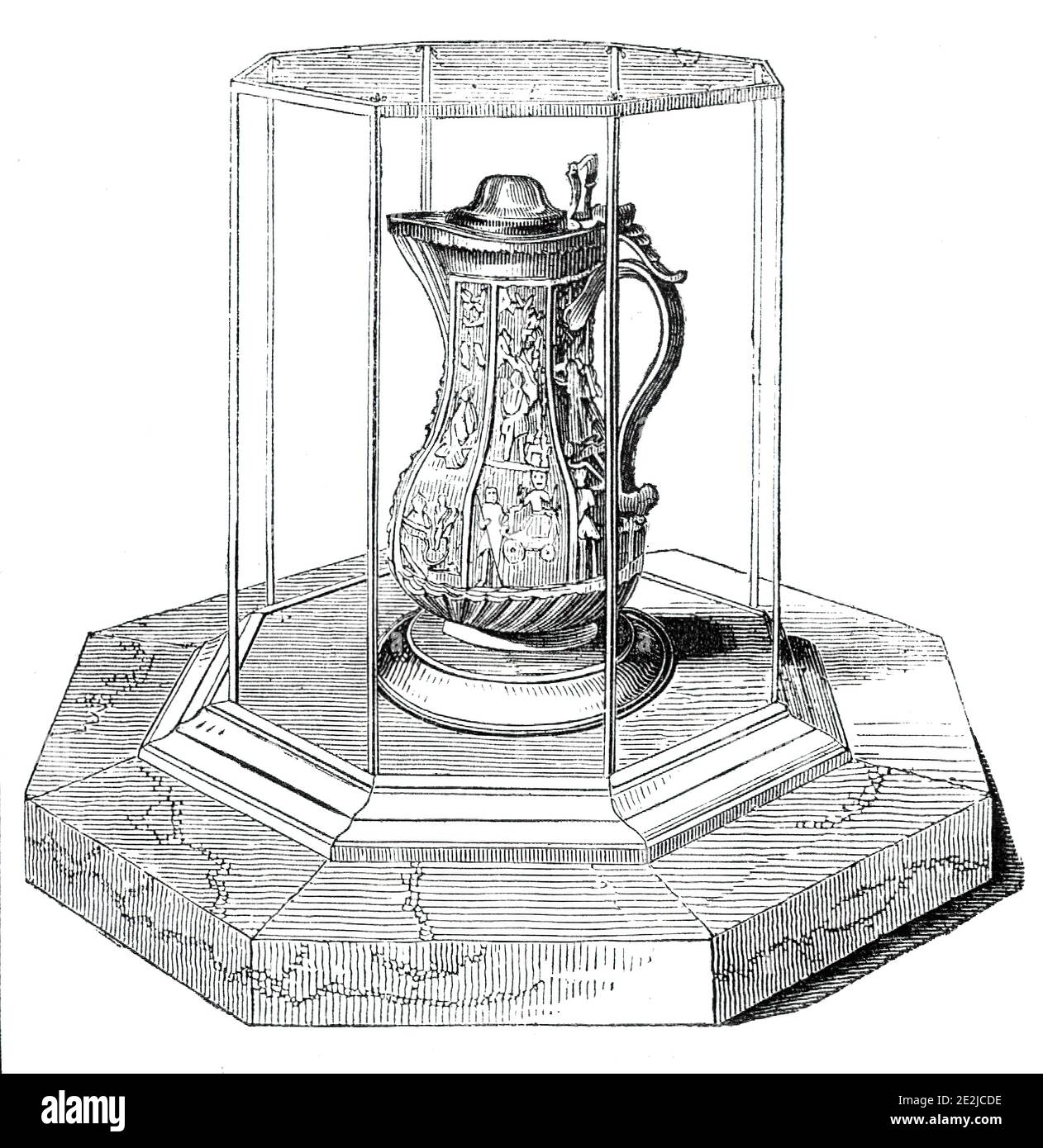 """Shakspeare's Jug, 1844. Une « relique accréditée » de Shakespeare. """"Les détails qui l'accompagnent proviennent d'un handbill, imprimé par M. Bennett, de Tewkesbury: """"Ce jug est en faïence de couleur crème, d'environ neuf pouces de hauteur, et seize ronds dans la plus grande partie, et quelque peu en forme d'une cafetière moderne. Il est divisé longitudinalement en huit compartiments, chacun étant subdivisé horizontalement; et à l'intérieur de ces derniers, les principales divinités de la mythologie grecque sont représentées dans un relief plutôt audacieux. Jupiter et Juno, Bacchus, Diana, Mercury, Apollo, Mars & amp;c. sont tous clairement distinguables Banque D'Images"""