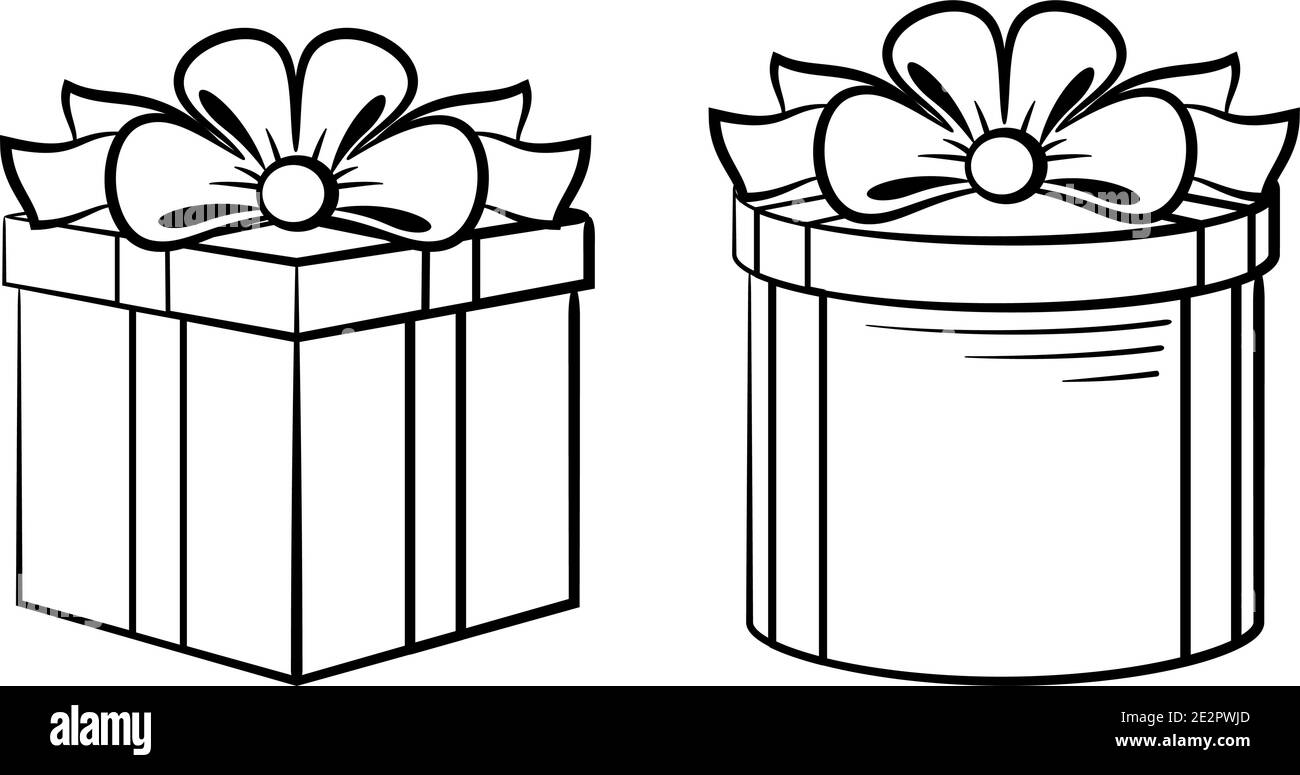 Boîtes-cadeaux formes carrées et rondes avec boucles, contours noirs isolés sur blanc. Vecteur Illustration de Vecteur