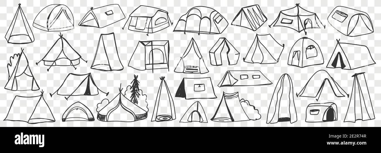 Divers tentes de camping ensemble de doodle. Collection de tentes de maison temporaire de camping dessinées à la main pour le tourisme de voyage isolées sur fond transparent. Illustration de tentes textiles pour rester sur la nature Illustration de Vecteur