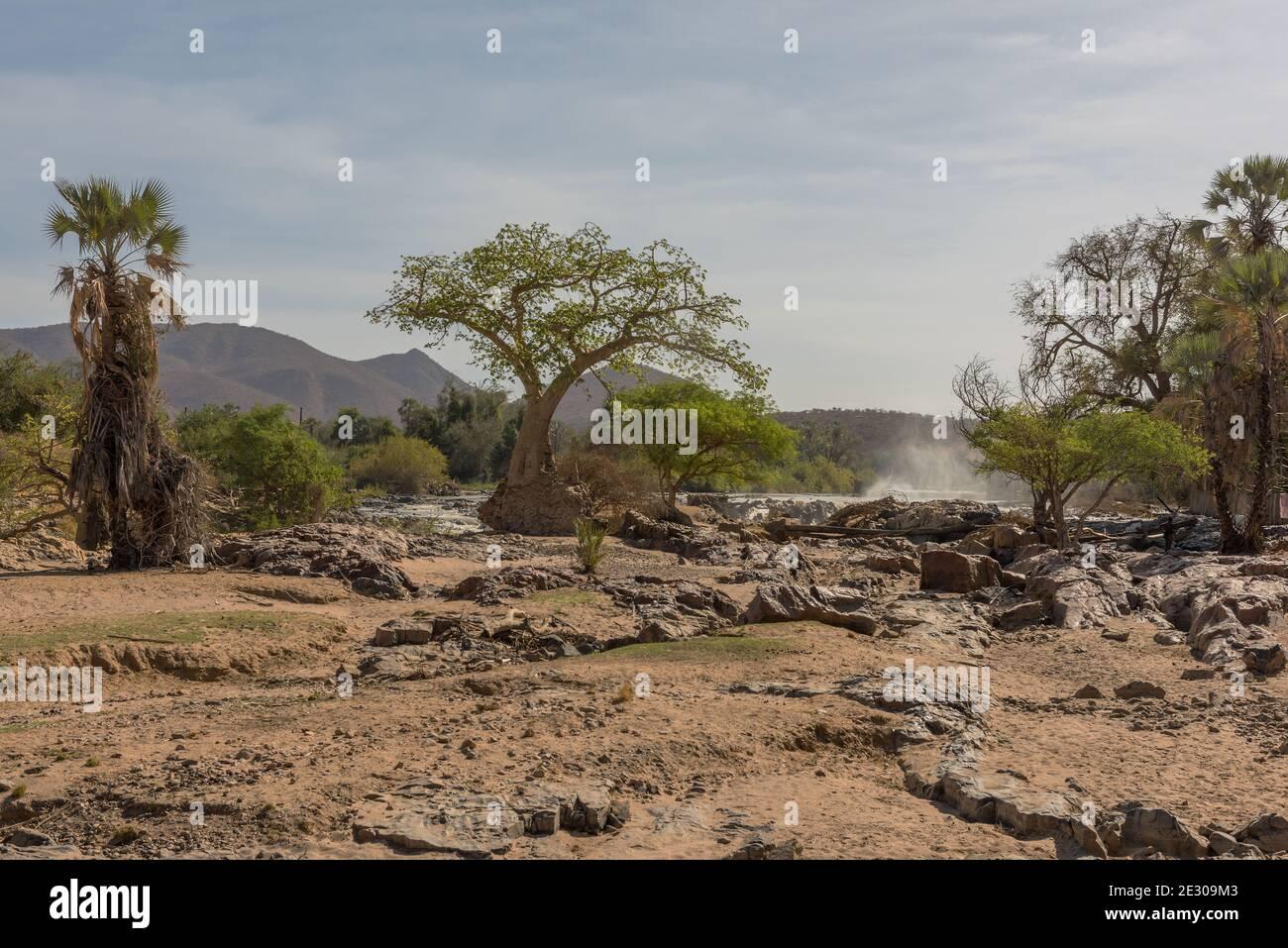 Paysage sur les rives du fleuve Kunene, la frontière entre la Namibie et l'Angola Banque D'Images