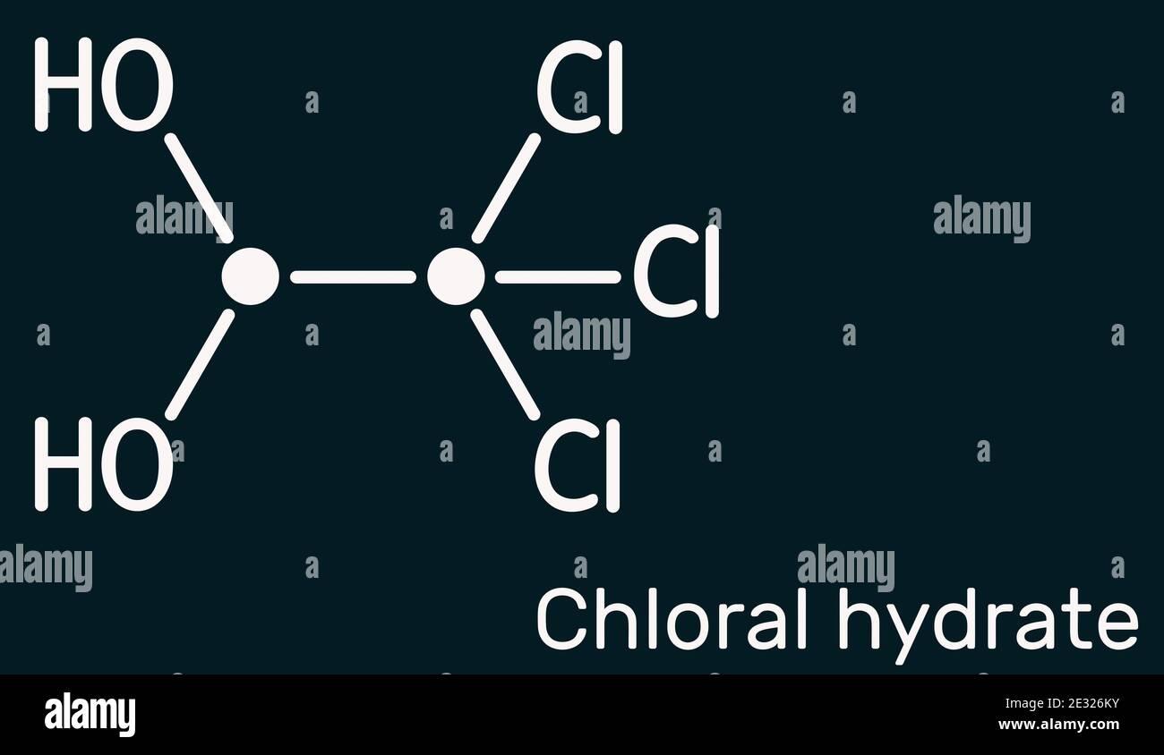 Hydrate de chloral. Diol géminal, molécule anesthésique. Monohydrate synthétique de choral, hypnotique et sédatif, anticonvulsif. Produit chimique squelettique Banque D'Images