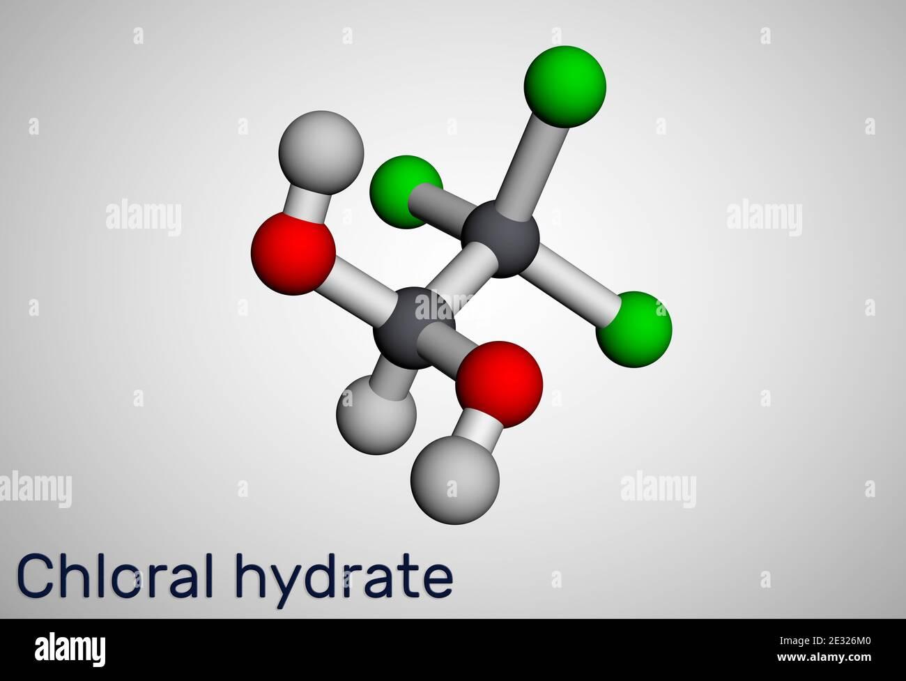 Hydrate de chloral. Diol géminal, molécule anesthésique. Monohydrate synthétique de choral, hypnotique et sédatif, anticonvulsif. Modèle moléculaire. 3 Banque D'Images