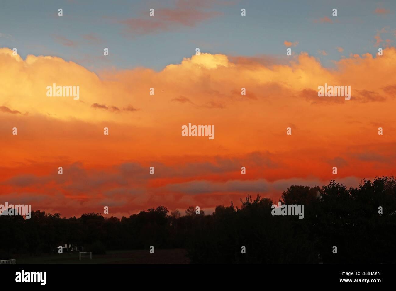 Coucher de soleil majestueux avec des nuages rouges dans le ciel et silhouettes d'arbre sous Banque D'Images