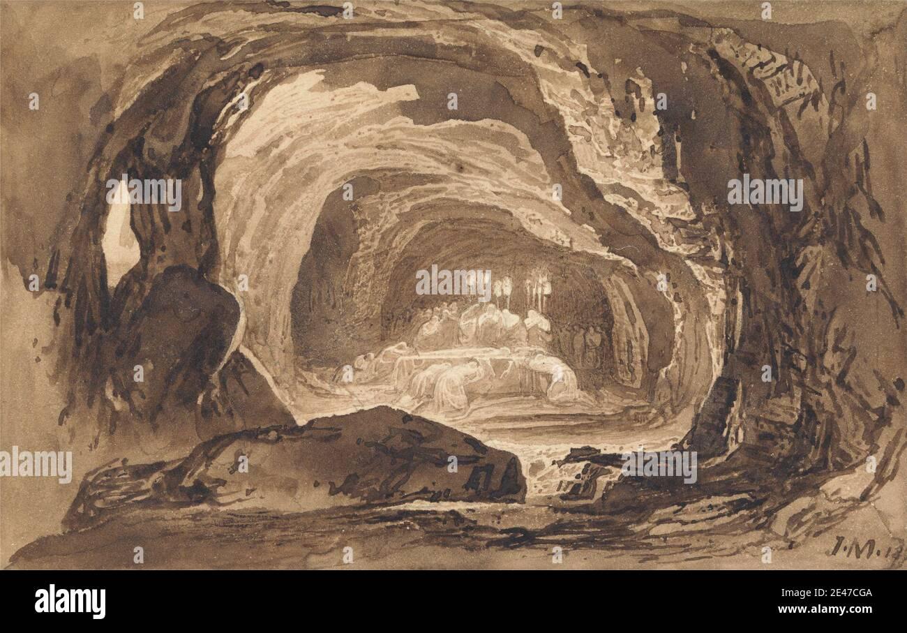 John Martin, 1789–1854, Britannique, Burial of Sarah, 1833. Encre brune et lavage brun sur papier vélin moyen, légèrement texturé, crème monté sur une carte épaisse, lisse, crème. Enterrement , bougies , grotte , mort , figures , funérailles , agenouillement , deuil , prière , sujet religieux et mythologique , rochers (formes langriennes) , L'enterrement de Sarah dans la grotte de Machpelah , les voiles , la tombe , les torches. Ad Daffah al Gharbiyah , Asie , Grotte des Patriarches , Hébron , Israël. Sarah Banque D'Images