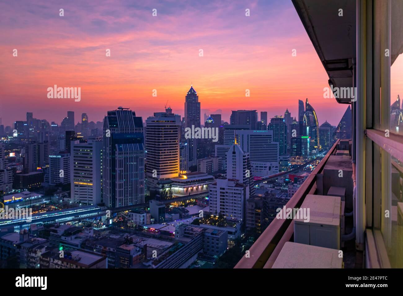 Coucher de soleil sur Bangkok, Thaïlande Banque D'Images