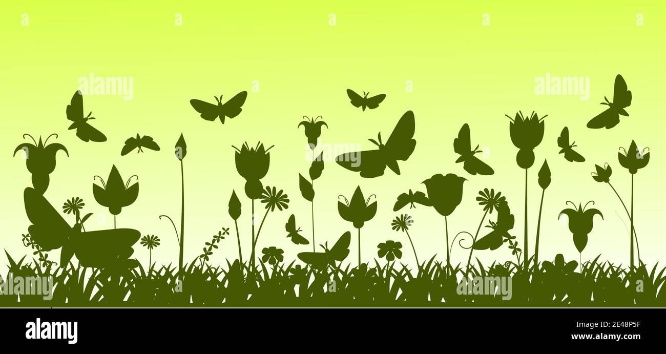 Silhouette d'une prairie en fleurs avec herbe, fleurs et papillons. Paysage vert. Illustration de dessin animé. L'arrière-plan de l'image. Magnifique naturel Illustration de Vecteur