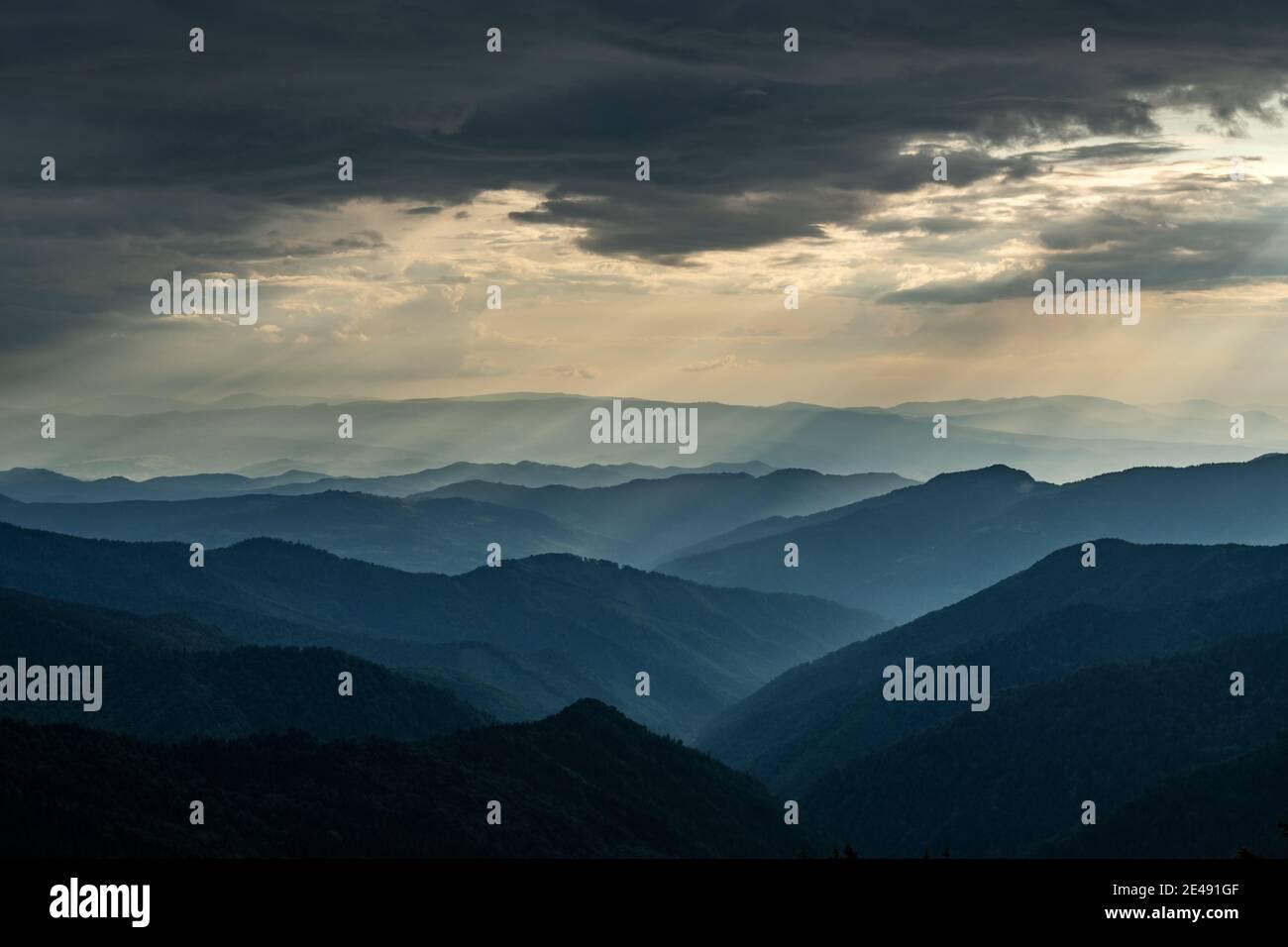 Brouillard du matin dans les montagnes du printemps. Magnifique lever de soleil sur fond. Photographie de paysage Banque D'Images
