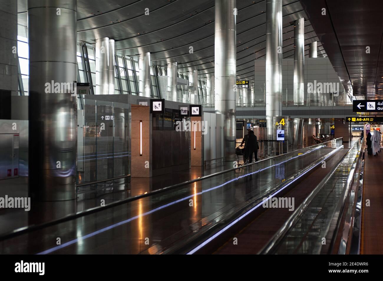05.06.2019, Doha, Qatar, Asie - vue intérieure du nouveau terminal de l'aéroport international de Hamad. Banque D'Images