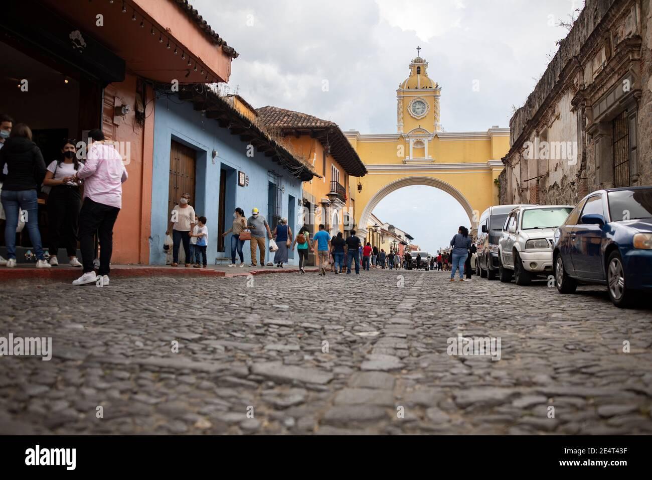 Santa Catalina Arch à Antigua, Guatemala, Amérique centrale Banque D'Images