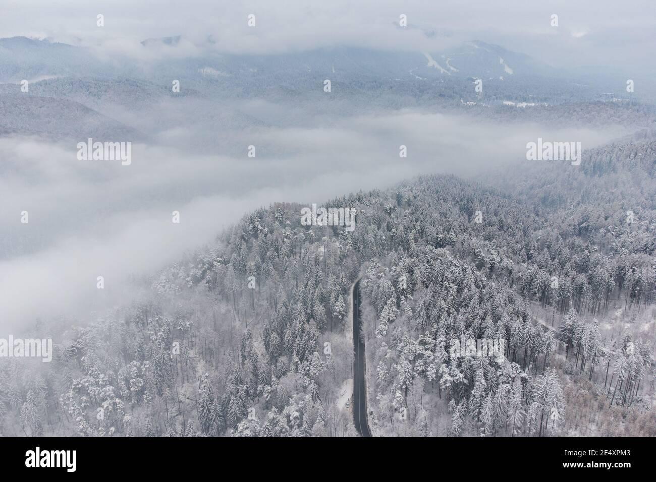 Vue aérienne en hiver de la route de montagne sinueuse, à Poiana Brasov Banque D'Images