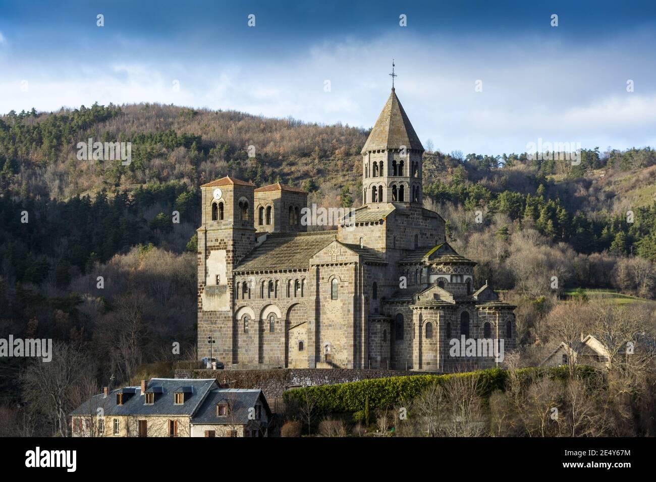 Église romaine de Saint Nectaire, Auvergne, France Banque D'Images