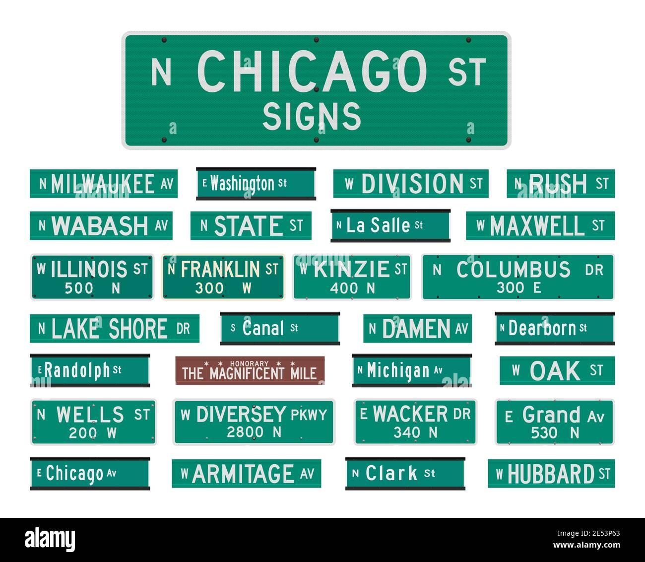 Illustration vectorielle des célèbres rues et avenues de Chicago signes Illustration de Vecteur