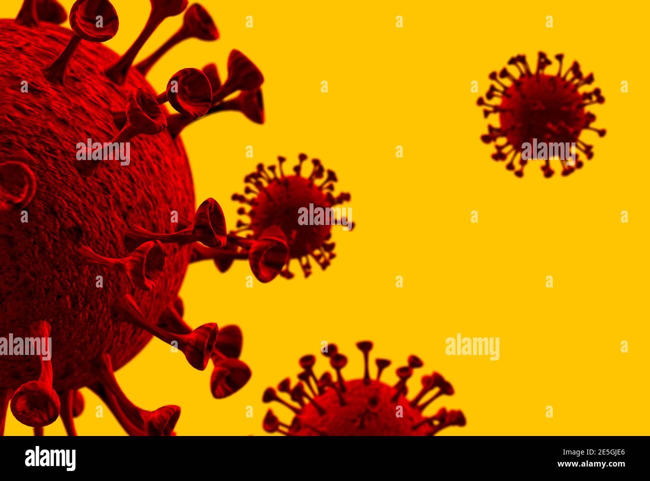 vue microscopique des particules covid 19 avec un dos vibrant rendu 3d sol Banque D'Images