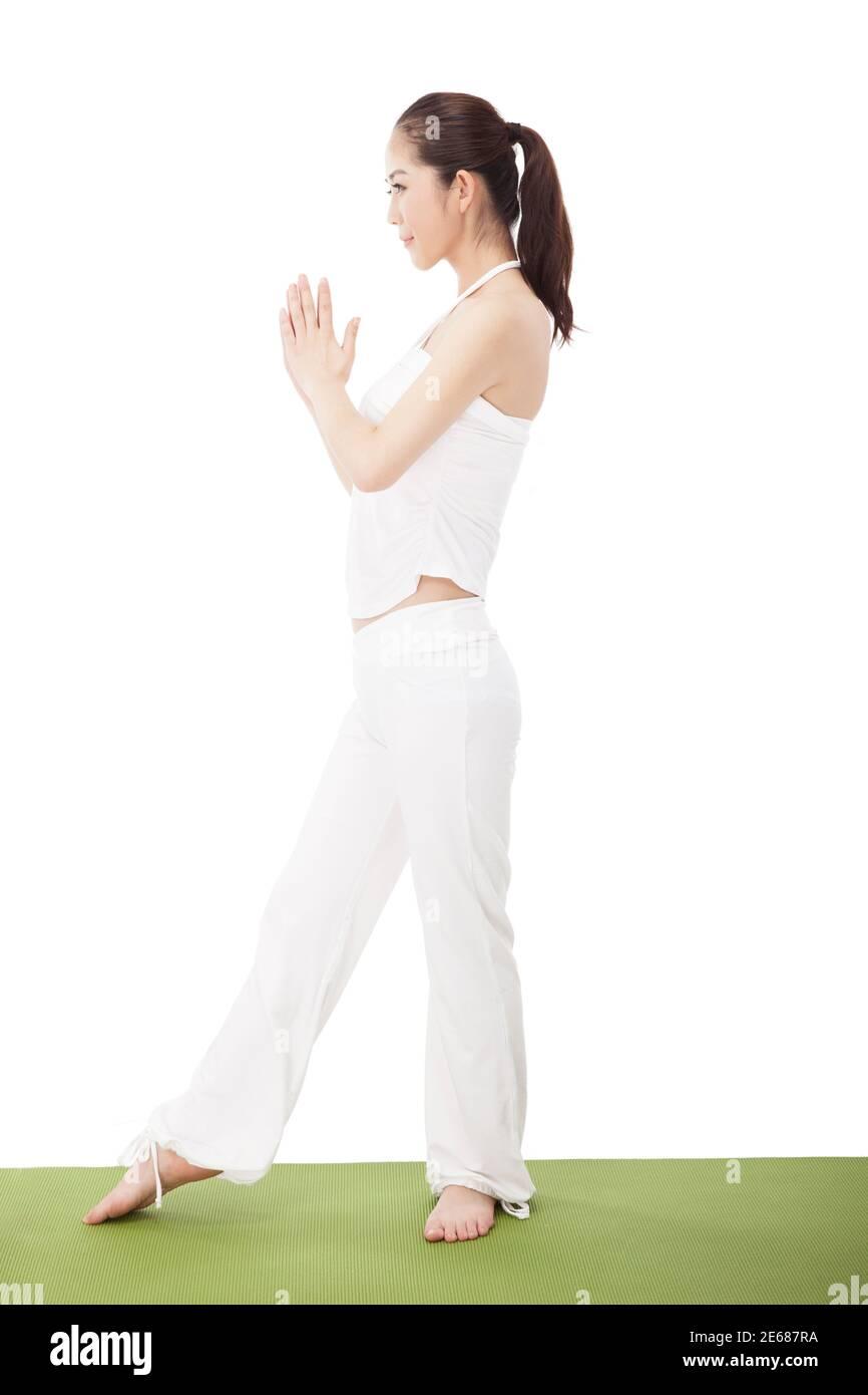 Jeune femme pratiquant Yu GA photo de haute qualité Banque D'Images