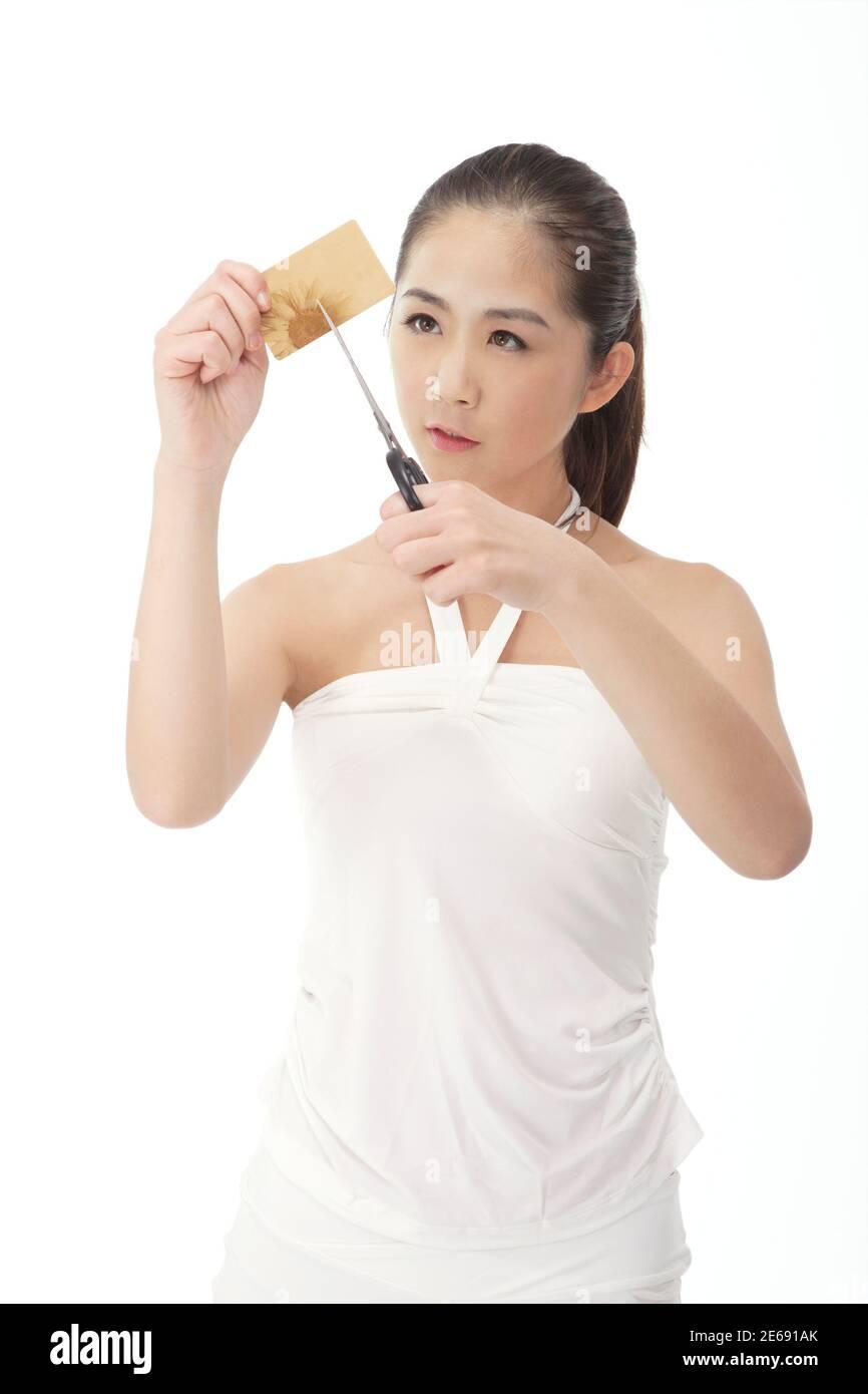 Jeune femme à la mode coupe carte de banque photo de haute qualité Banque D'Images