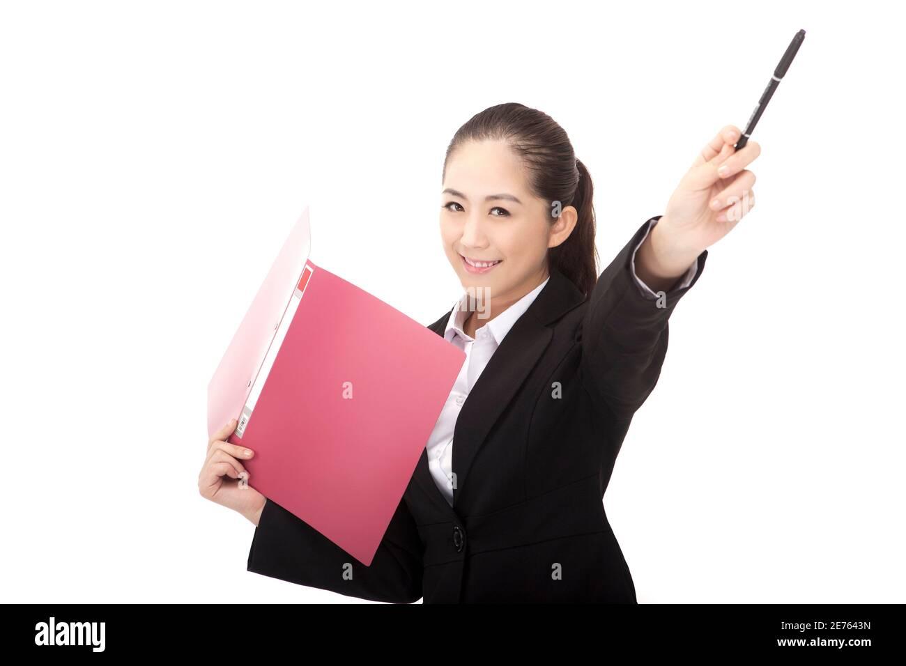 Femme d'affaires avec dossier photo de haute qualité Banque D'Images