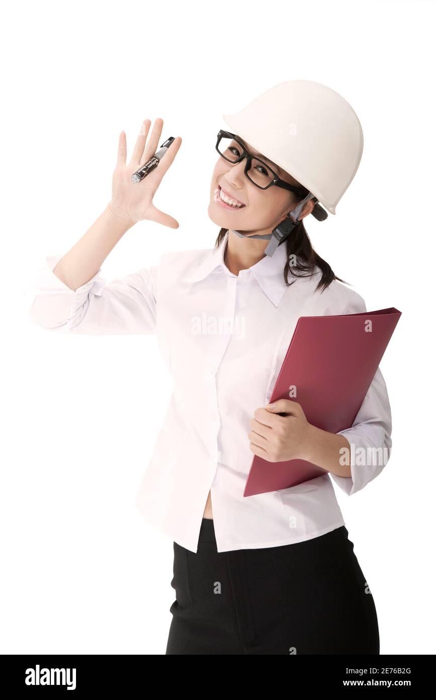 Femme d'affaires portant un casque de sécurité photo de haute qualité Banque D'Images