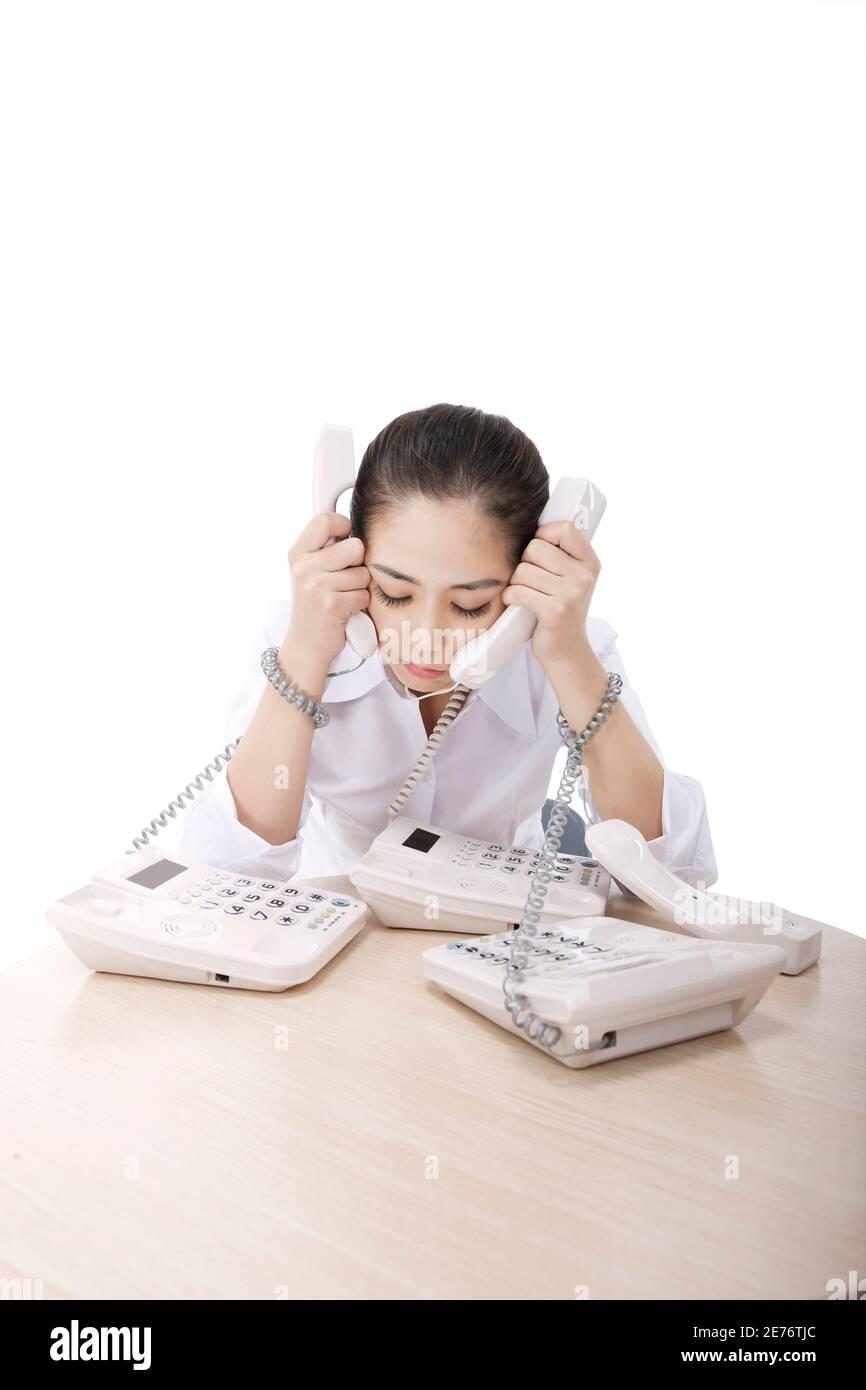 Femme d'affaires au téléphone photo de haute qualité Banque D'Images