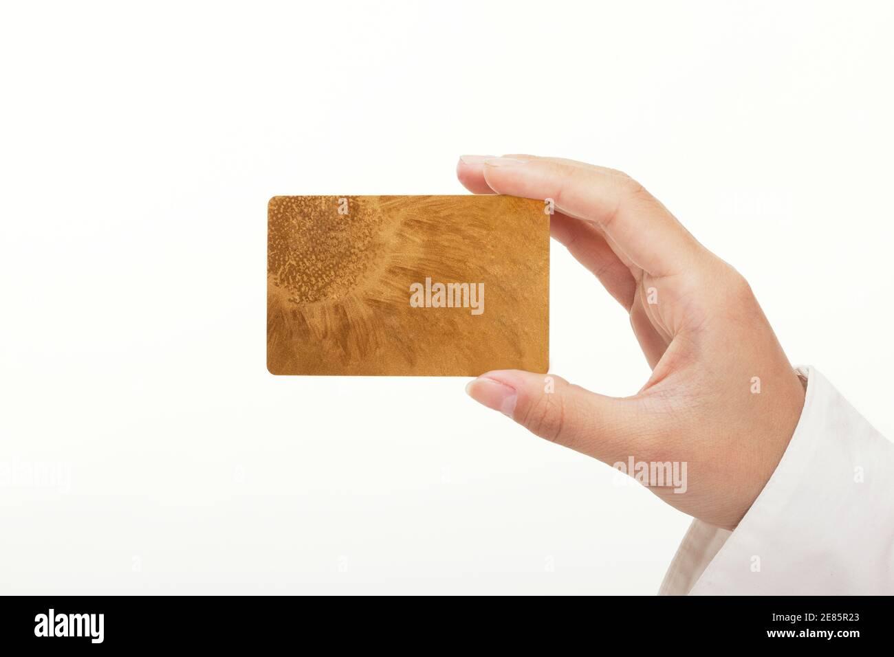 Main tenant carte de banque photo de haute qualité Banque D'Images
