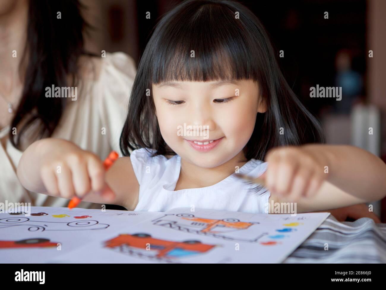 Portrait of Girls dessine des photos de haute qualité Banque D'Images