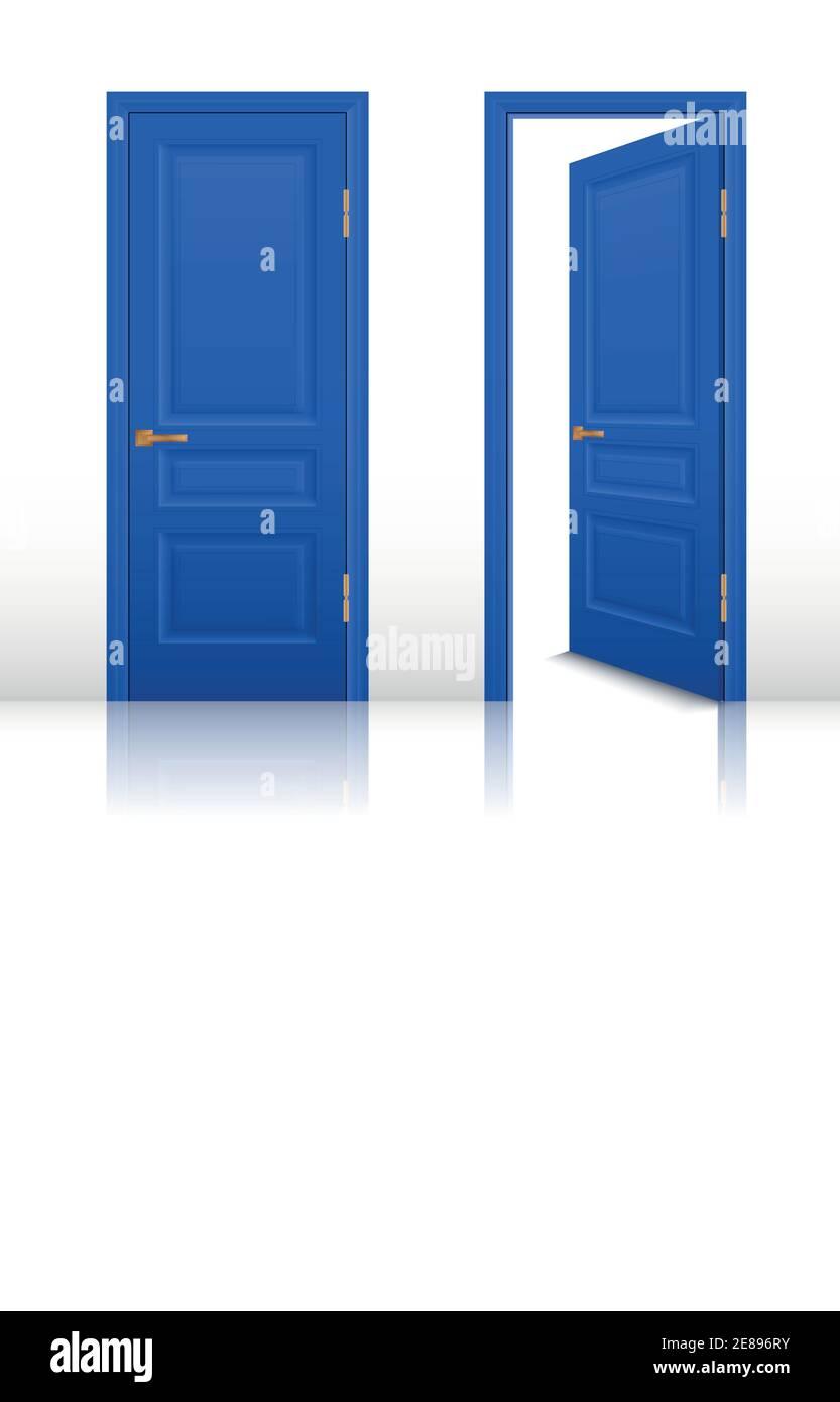 Chambre de maison bleue portes ouvertes et fermées avec poignées brunes définir une illustration vectorielle réaliste isolée Illustration de Vecteur