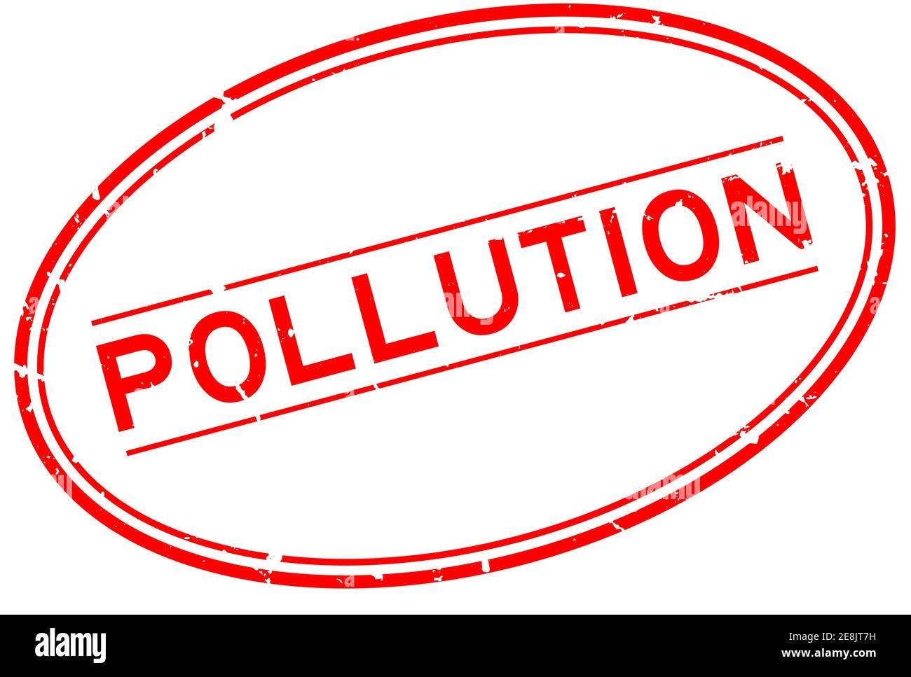 Grunge rouge mot pollution ovale joint caoutchouc timbre sur blanc arrière-plan Illustration de Vecteur