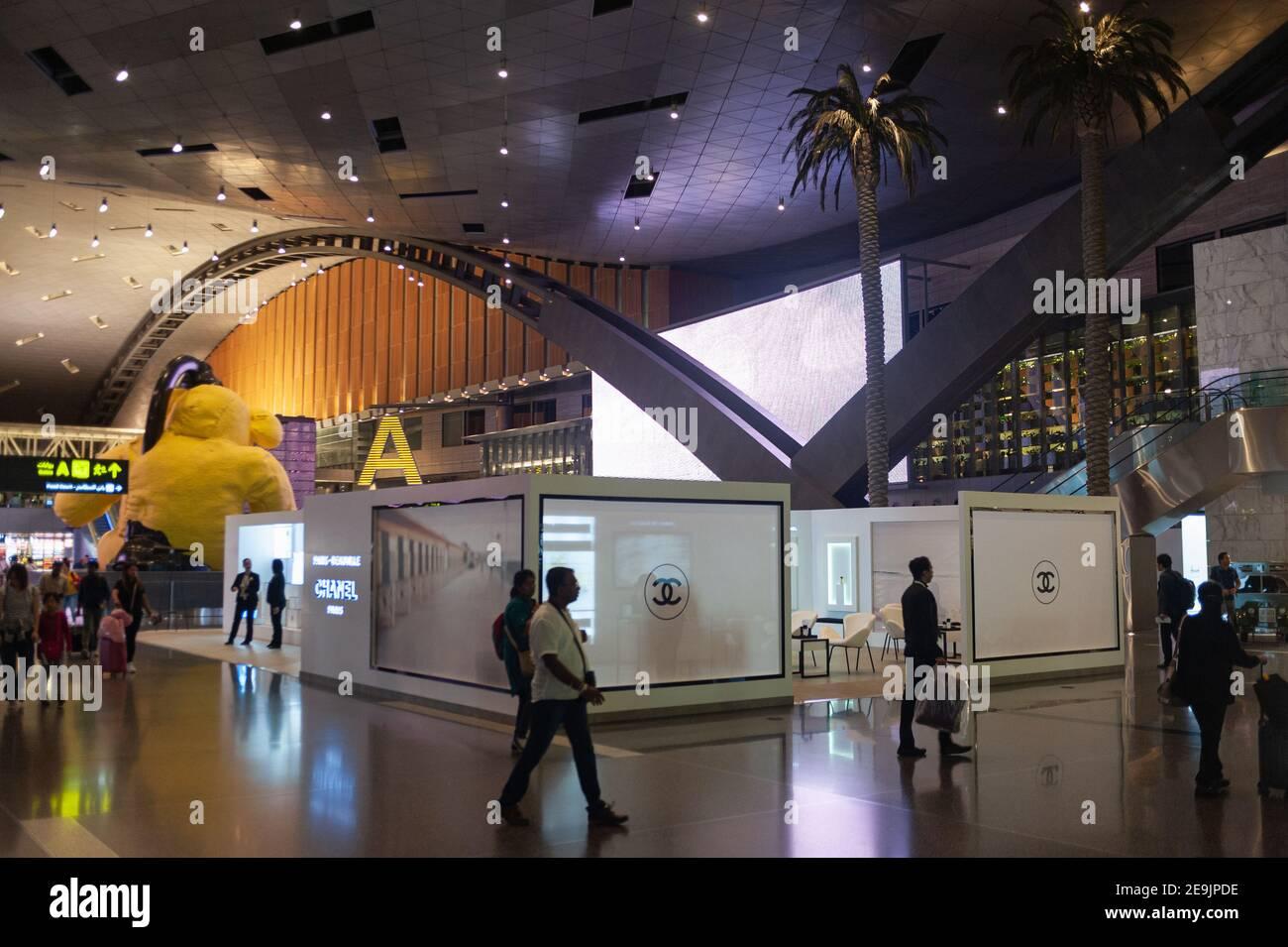27.06.2019, Doha, Qatar, Asie - vue intérieure du nouveau terminal de l'aéroport international de Hamad. Banque D'Images