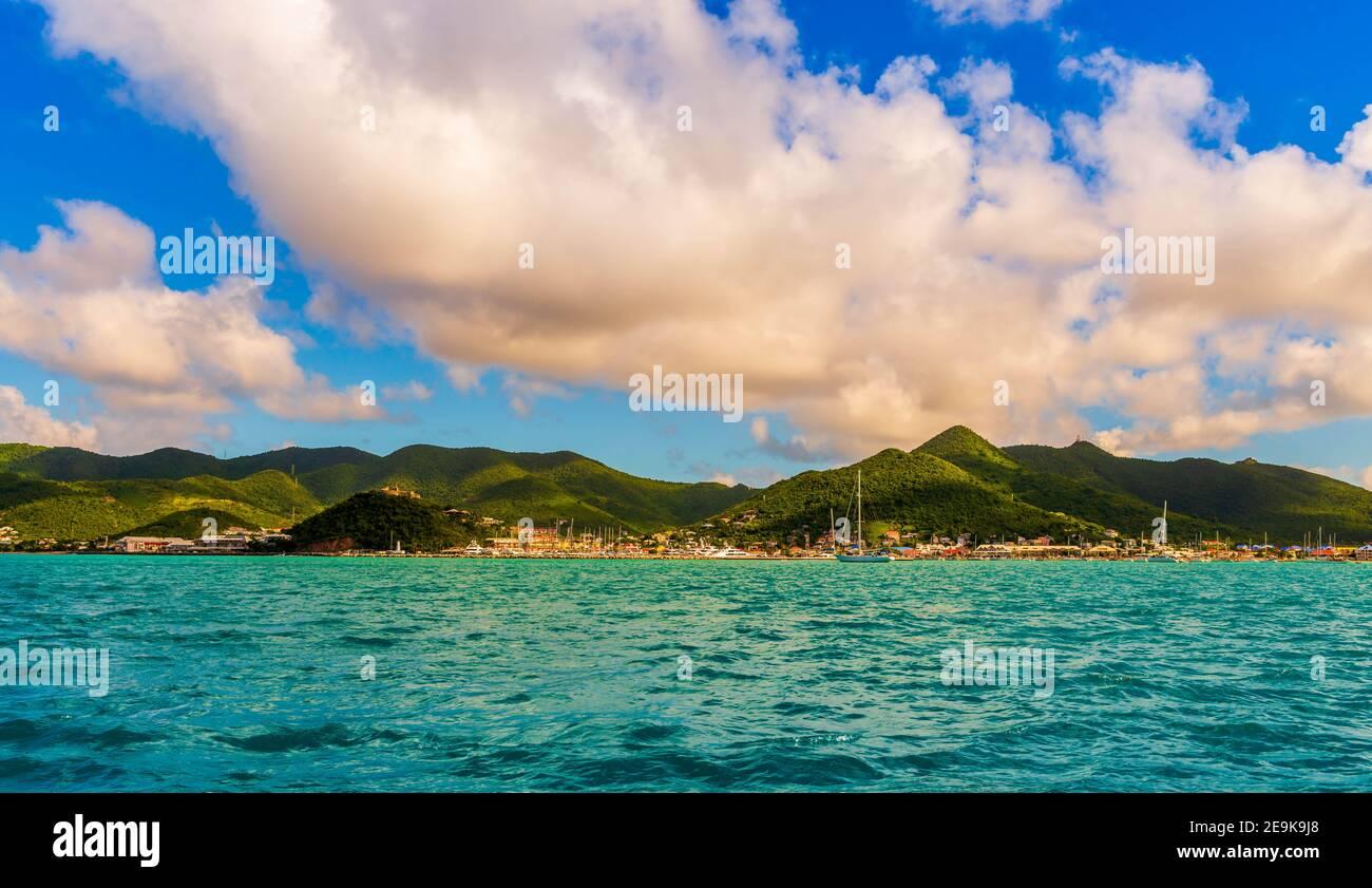 Grand cas sur l'île de Saint Martin dans le Caraïbes Banque D'Images