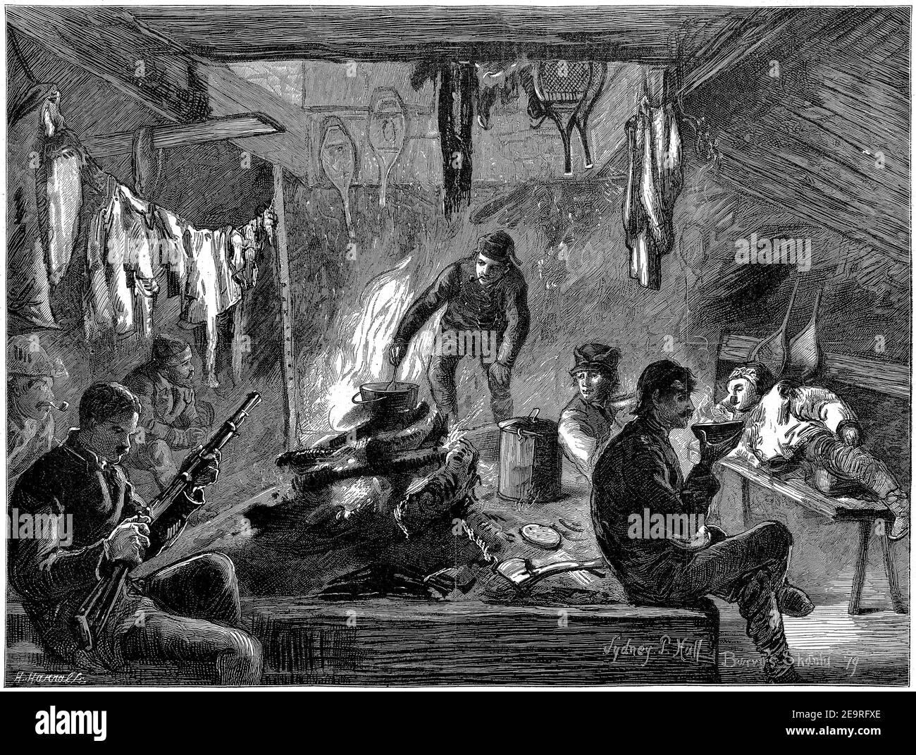 Gravure d'une équipe de chasseurs d'orignaux dans une mante se préparer pour l'aventure du lendemain dans les fanes de Canada Banque D'Images