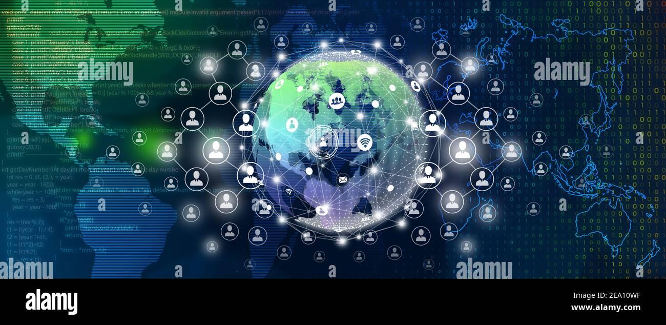 Concept de connexion d'entreprise mondiale, de connexion de personnes et de connexion réseau. Banque D'Images