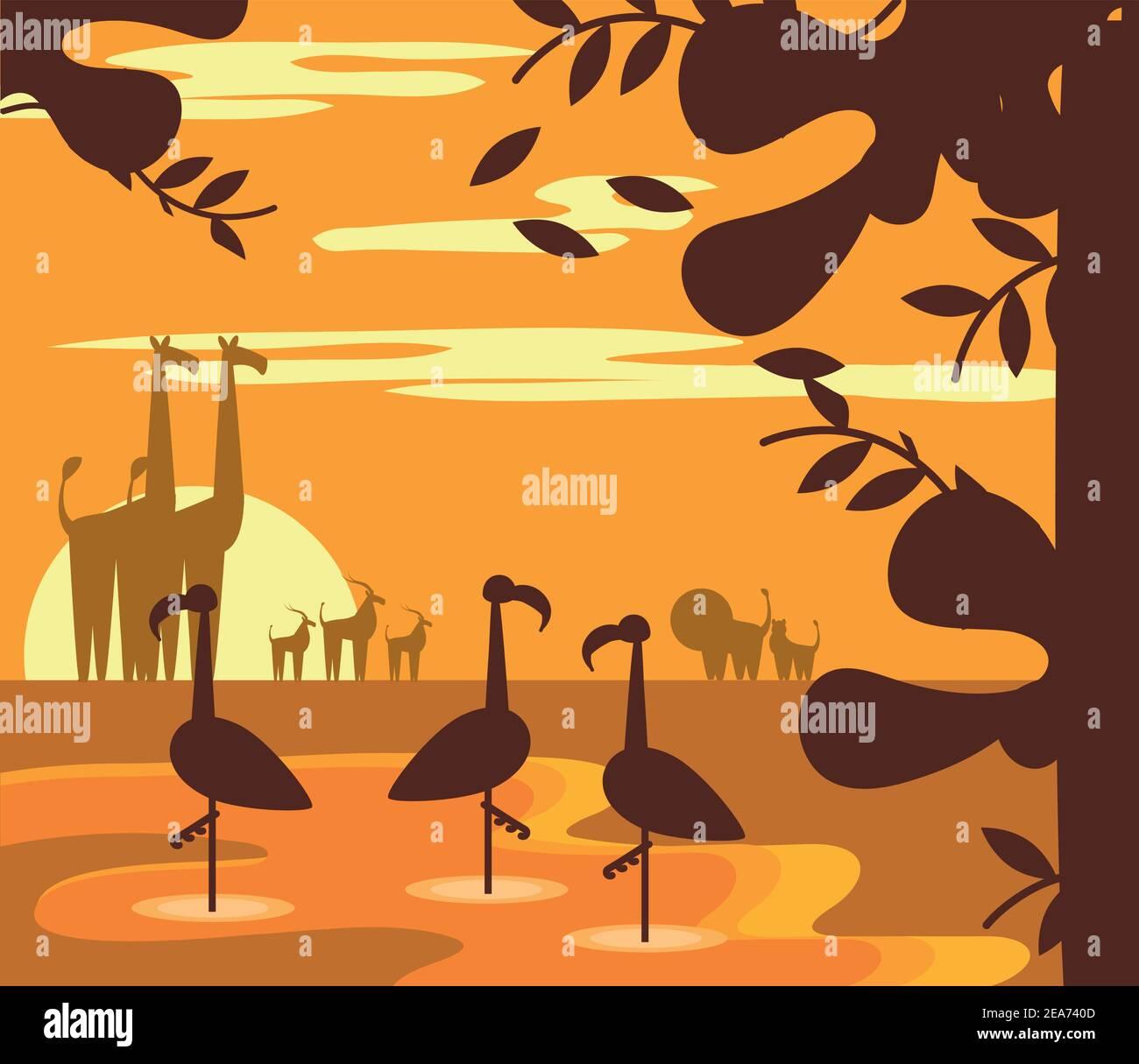 animaux jungle coucher de soleil paysage dessin animé dans la silhouette vecteur illustration Illustration de Vecteur