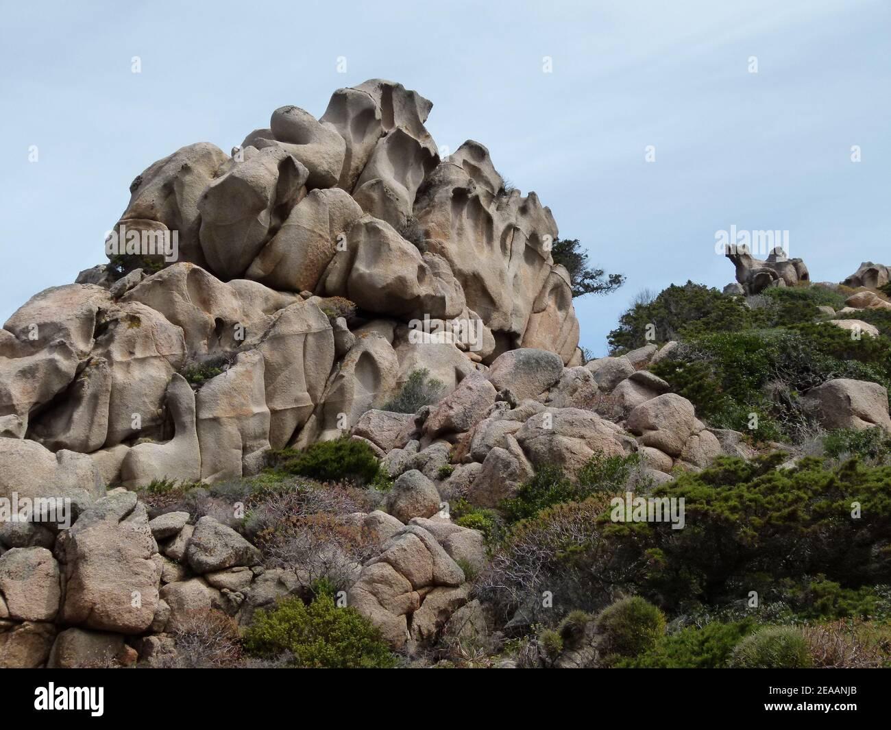 Formations de pierre à Capo Testa, mer, Sardaigne, Italie Banque D'Images