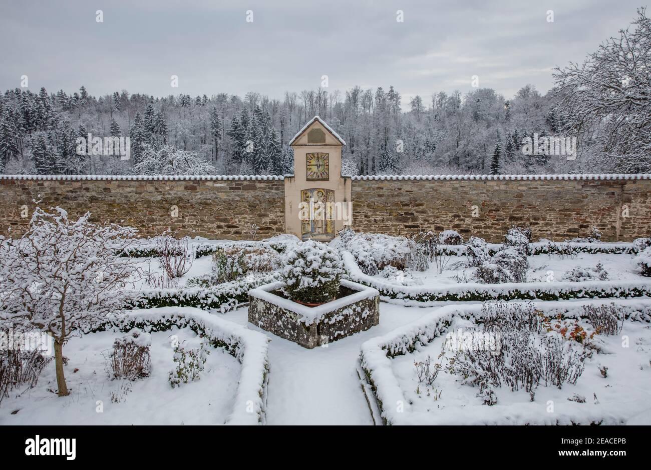 Klostergarten Kloster Kirchberg en hiver, neige Banque D'Images