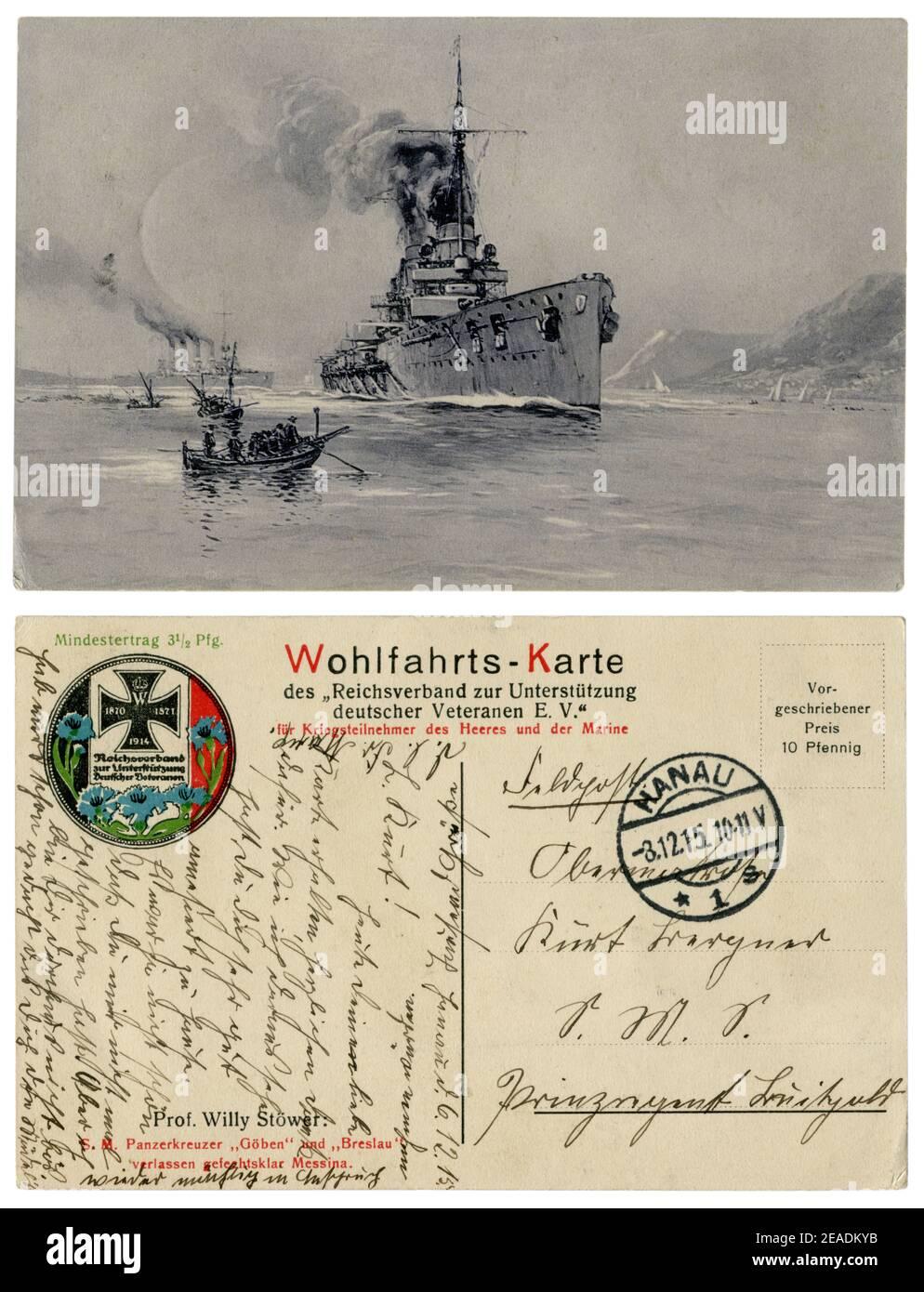 Carte postale historique allemande : Battlecruiser de classe Moltke SMS Goeben (1911) et croiseur de classe Magdeburg SMS Breslau (1911), World War One 1914-1918. Banque D'Images