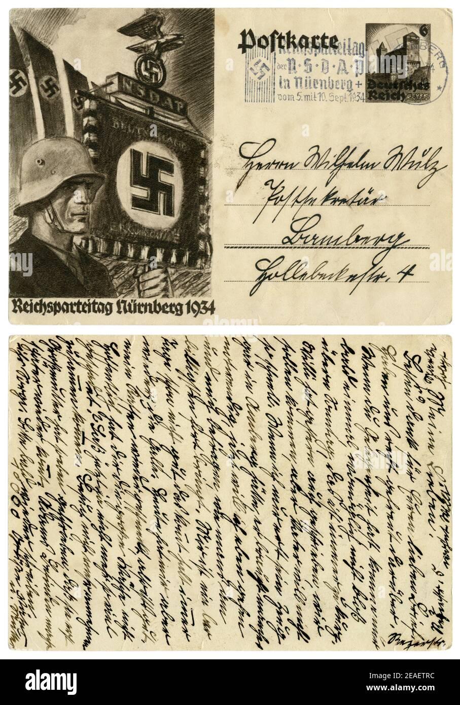 Carte postale historique allemand: le 6e congrès du NSDAP à Nuremberg en 1934, SS-étendard dans un casque d'acier. L'Allemagne, Troisième Reich Banque D'Images