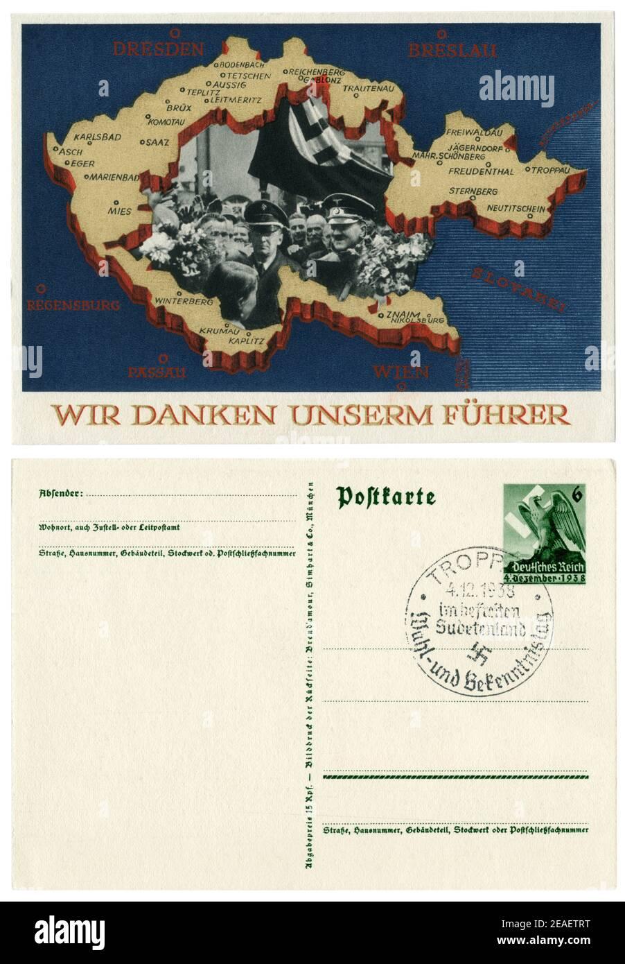 Carte postale historique allemande : plébiscite sur l'adhésion des Sudètes. Annexion de parties de Tchécoslovaquie. 29 septembre 1938, partie inverse Banque D'Images