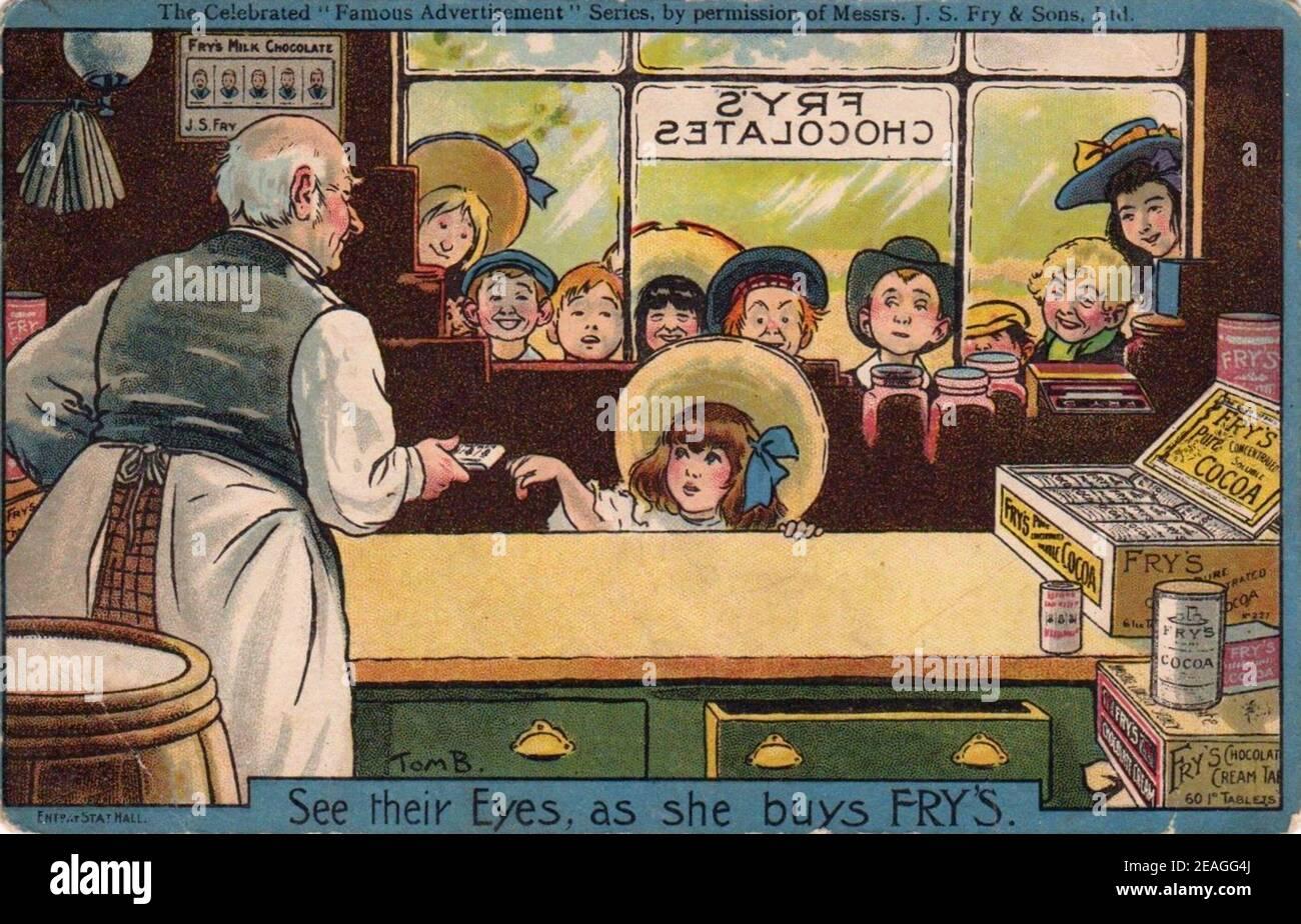Carte postale publicitaire de Tom Browne pour le chocolat Fry, 1912 Banque D'Images