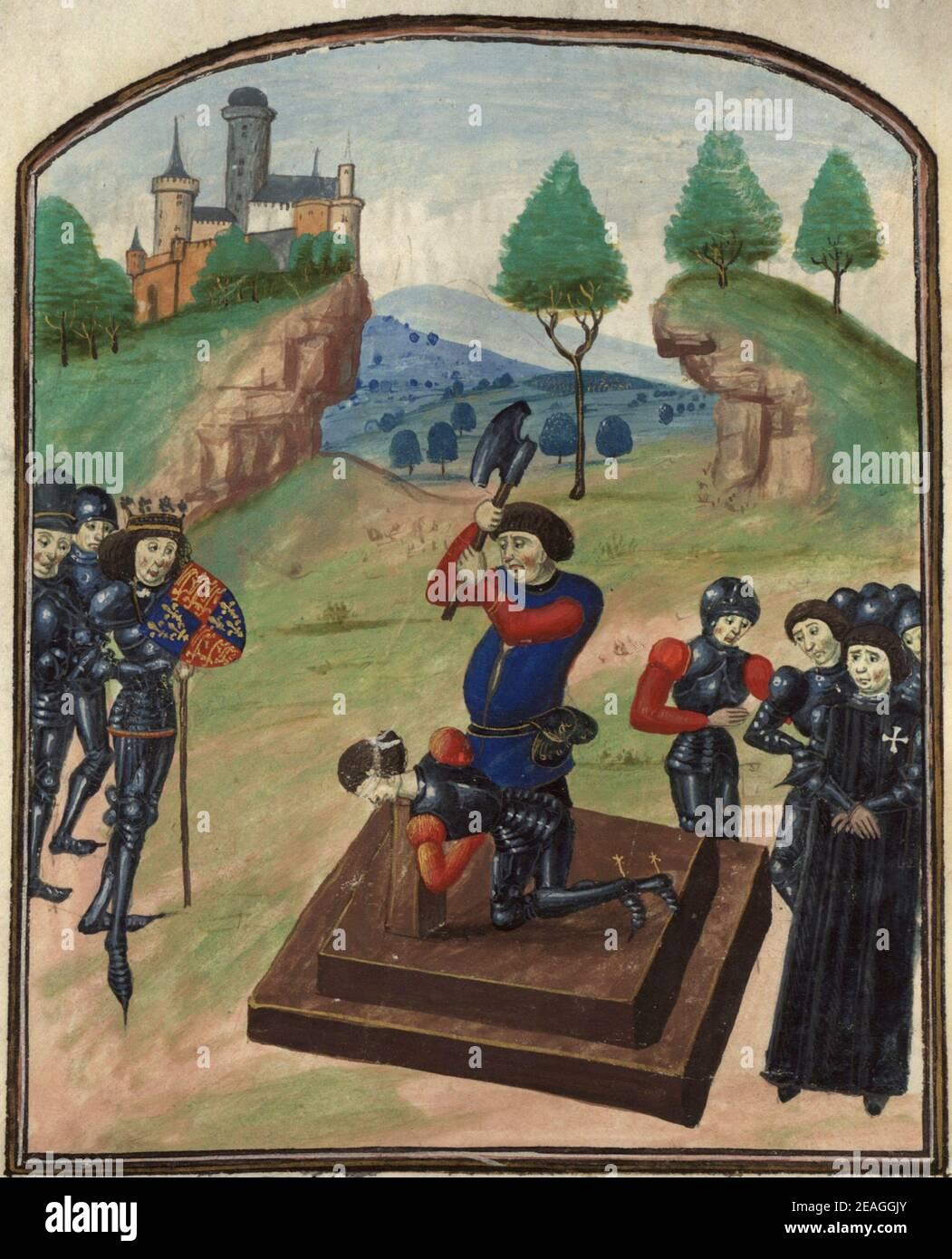 Edward IV (à gauche) regardant l'exécution d'Edmund Beaufort, 4e duc de Somerset, à Tewkesbury, 1471 Banque D'Images